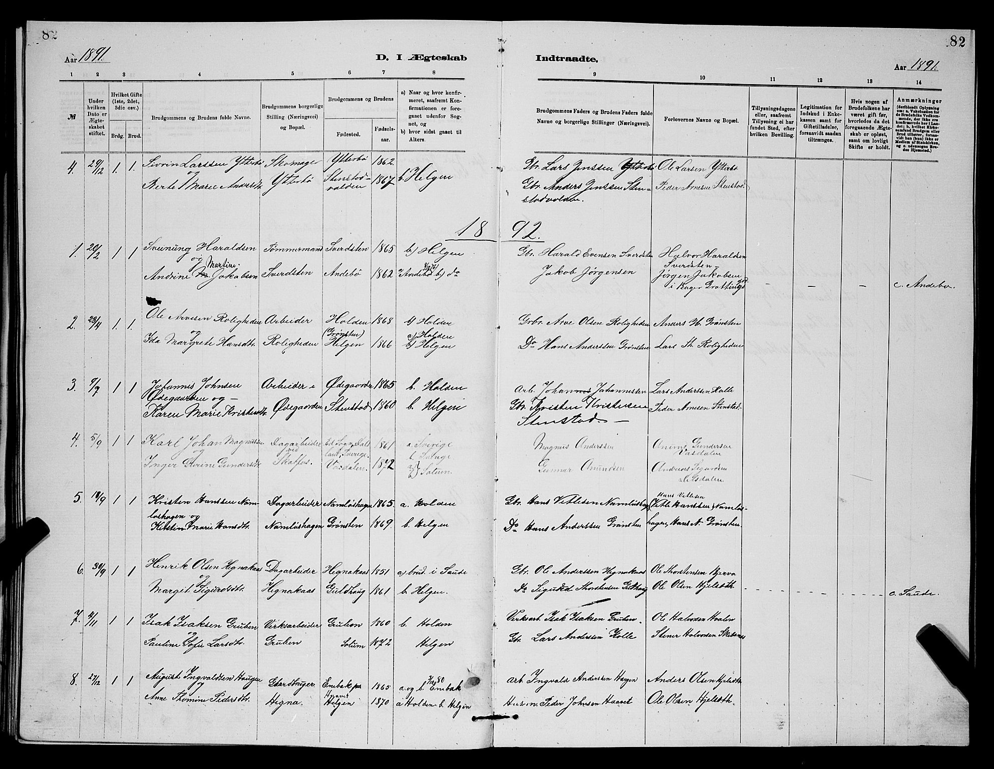 SAKO, Holla kirkebøker, G/Gb/L0001: Klokkerbok nr. II 1, 1882-1897, s. 82