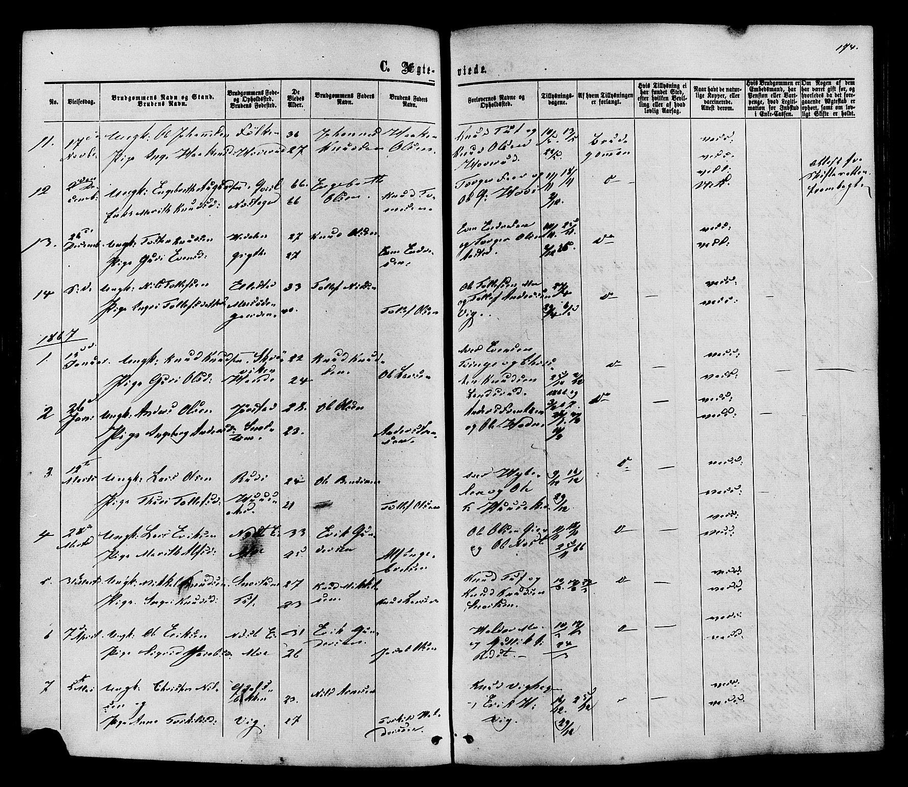 SAH, Vestre Slidre prestekontor, Ministerialbok nr. 3, 1865-1880, s. 174