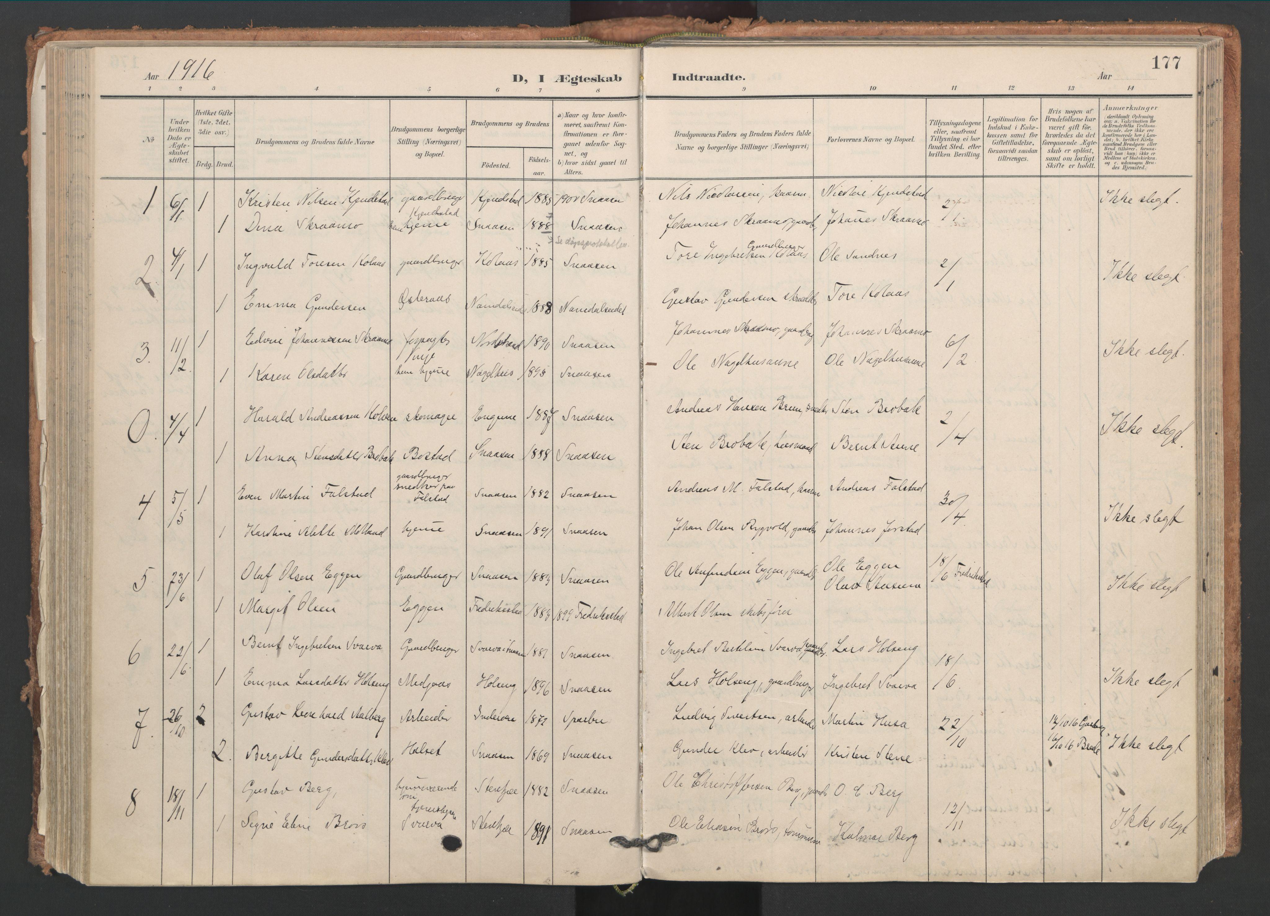 SAT, Ministerialprotokoller, klokkerbøker og fødselsregistre - Nord-Trøndelag, 749/L0477: Ministerialbok nr. 749A11, 1902-1927, s. 177