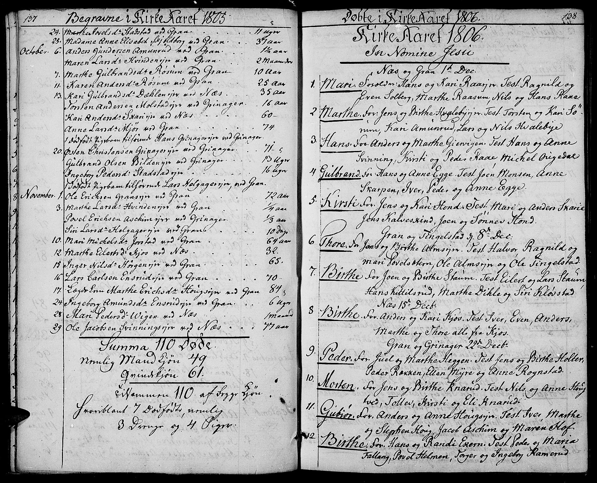 SAH, Gran prestekontor, Ministerialbok nr. 8, 1798-1811, s. 137-138