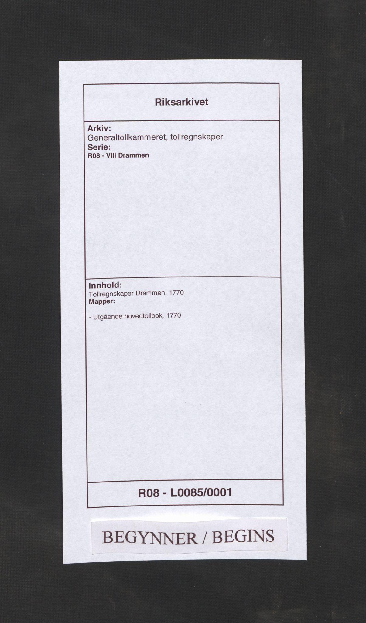 RA, Generaltollkammeret, tollregnskaper, R08/L0085: Tollregnskaper Drammen, 1770