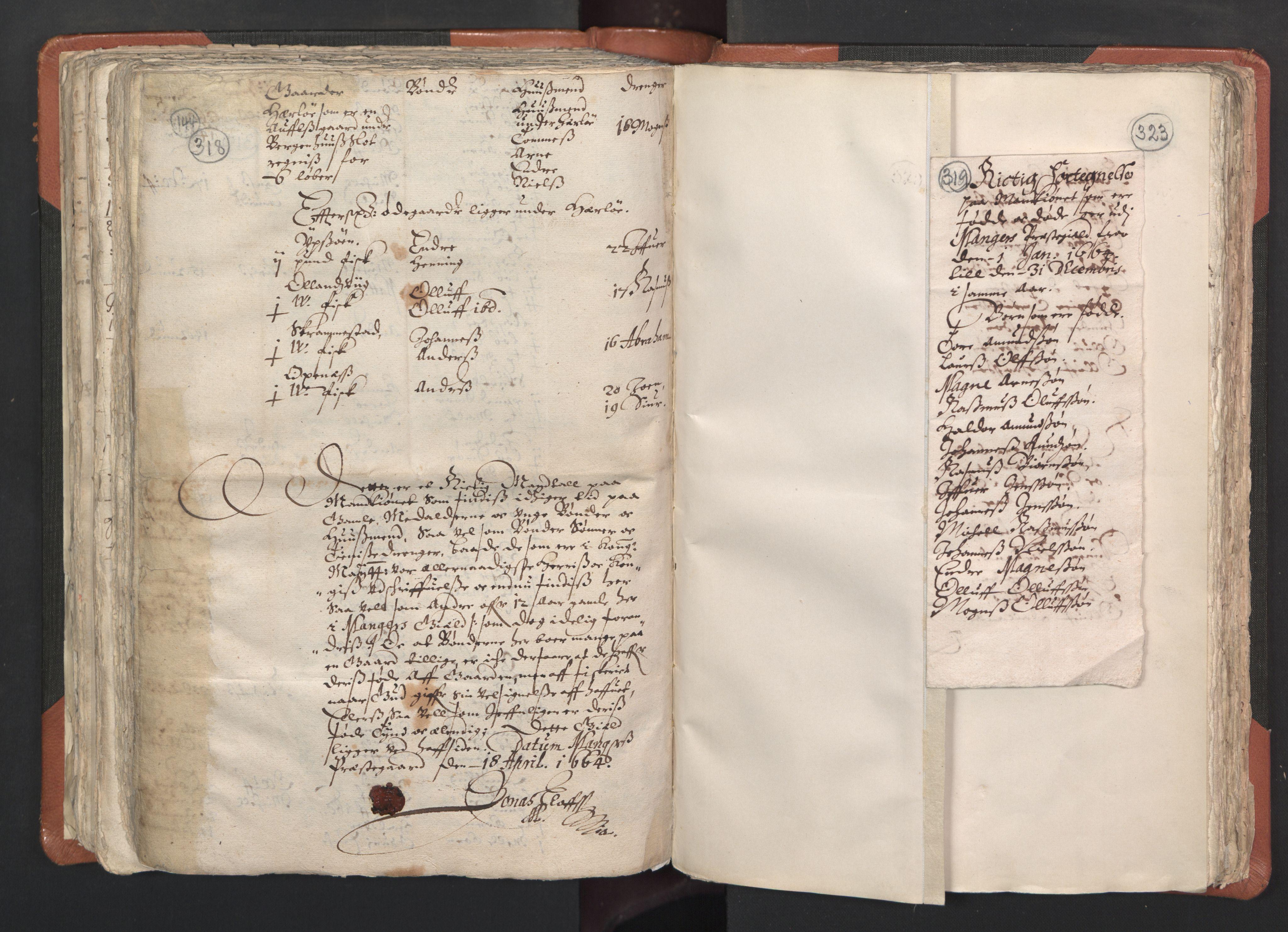 RA, Sogneprestenes manntall 1664-1666, nr. 22: Nordhordland prosti, 1664-1666, s. 318-319