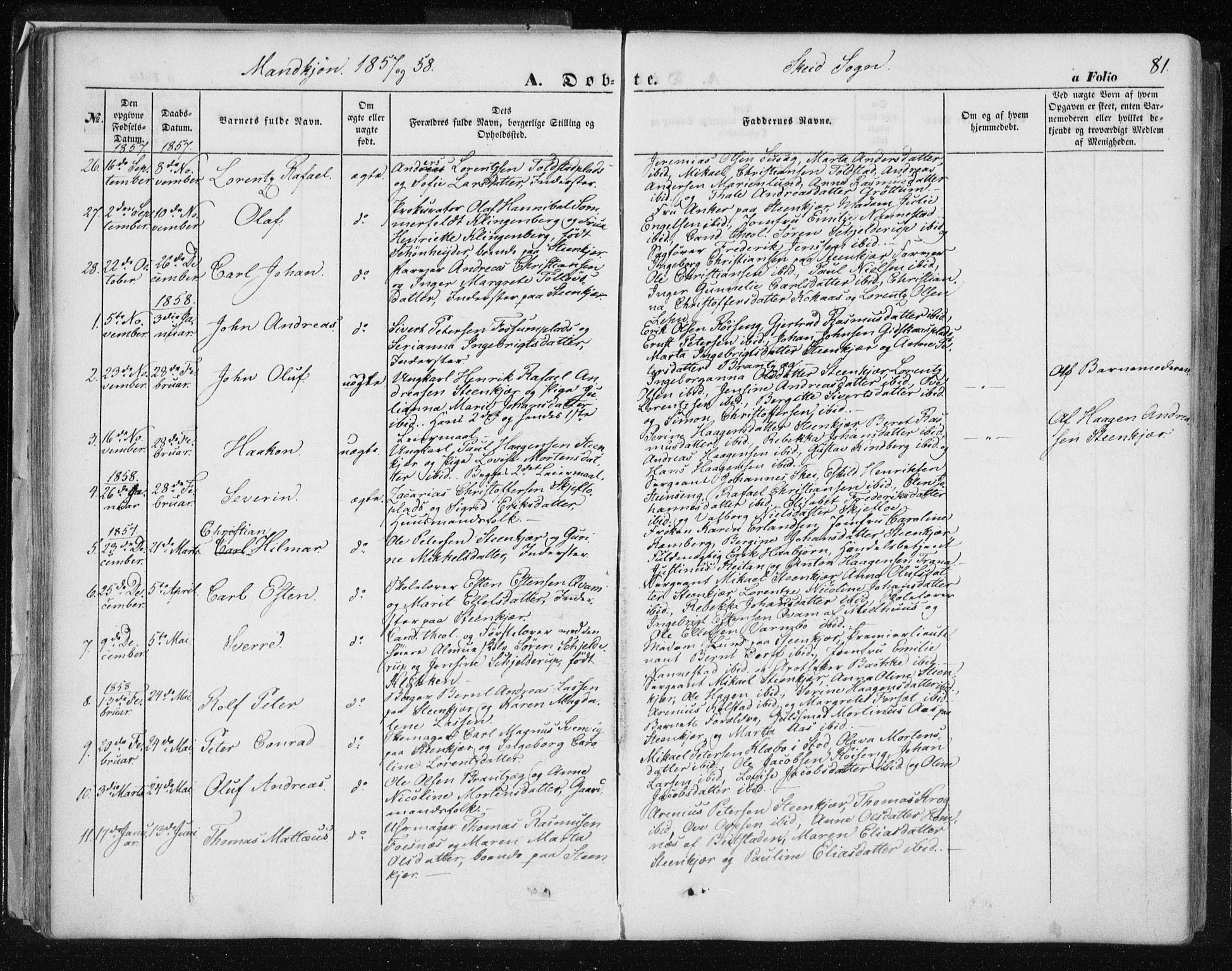 SAT, Ministerialprotokoller, klokkerbøker og fødselsregistre - Nord-Trøndelag, 735/L0342: Ministerialbok nr. 735A07 /2, 1849-1862, s. 81