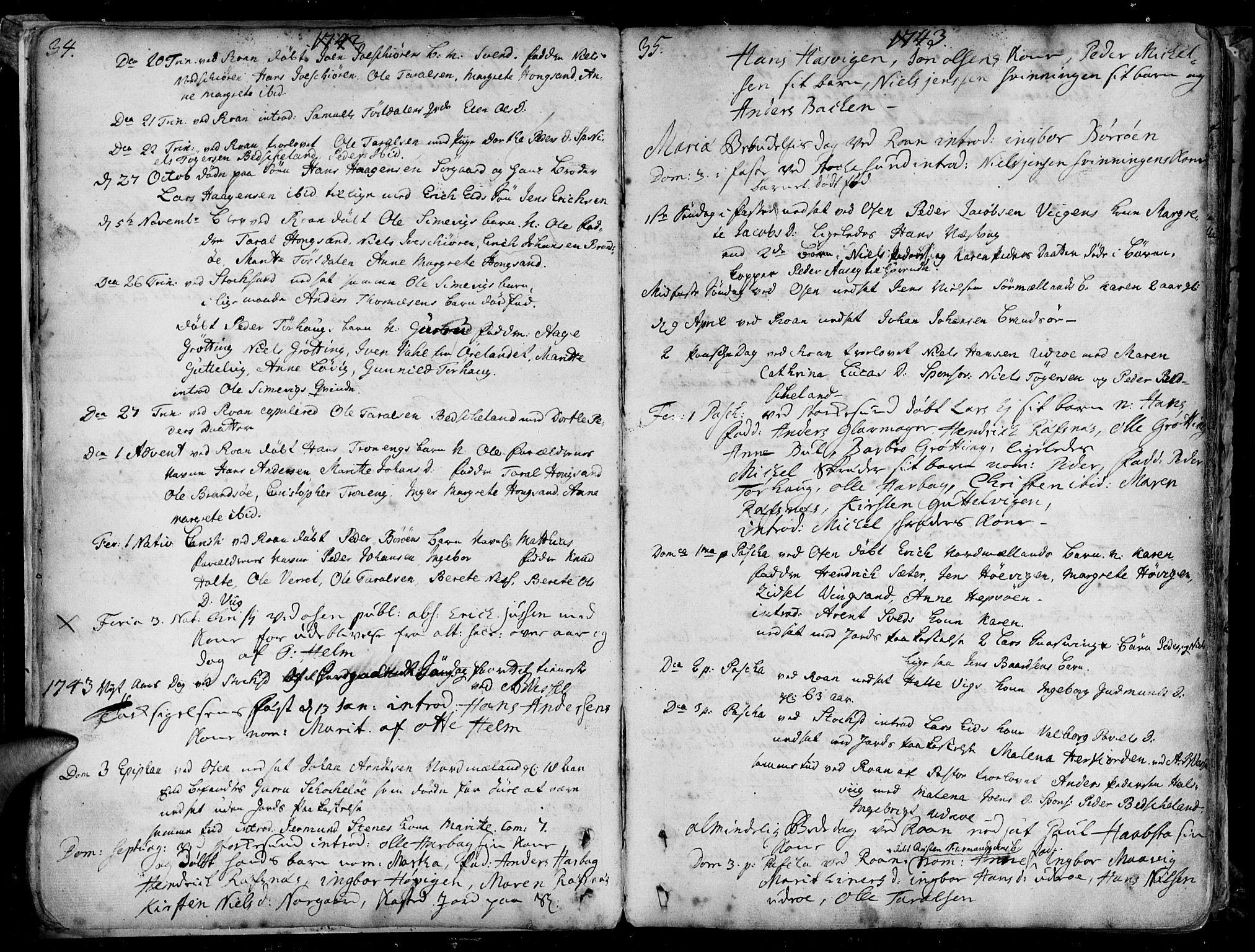 SAT, Ministerialprotokoller, klokkerbøker og fødselsregistre - Sør-Trøndelag, 657/L0700: Ministerialbok nr. 657A01, 1732-1801, s. 34-35