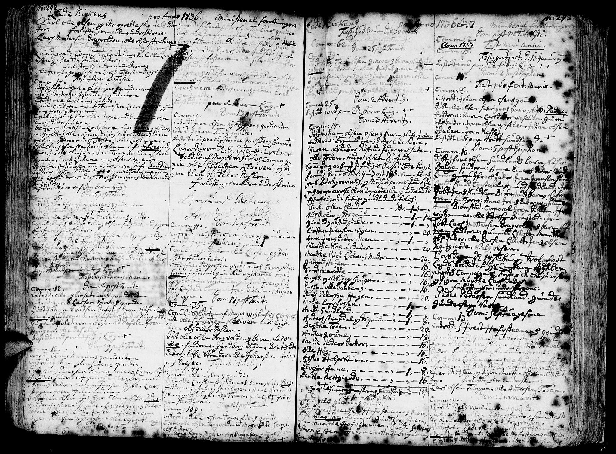 SAT, Ministerialprotokoller, klokkerbøker og fødselsregistre - Sør-Trøndelag, 606/L0275: Ministerialbok nr. 606A01 /1, 1727-1780, s. 242-243