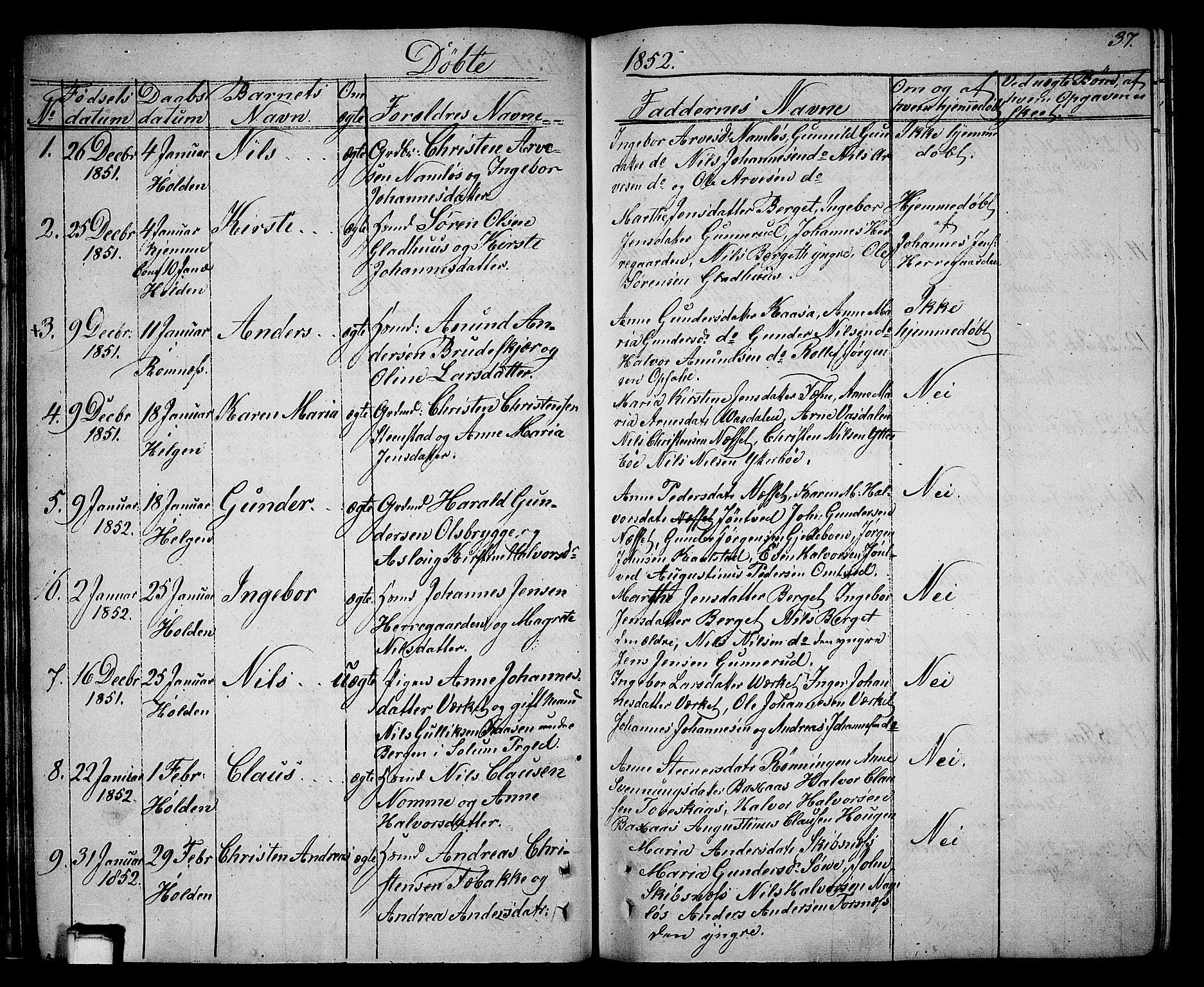 SAKO, Holla kirkebøker, G/Ga/L0003: Klokkerbok nr. I 3, 1849-1866, s. 37
