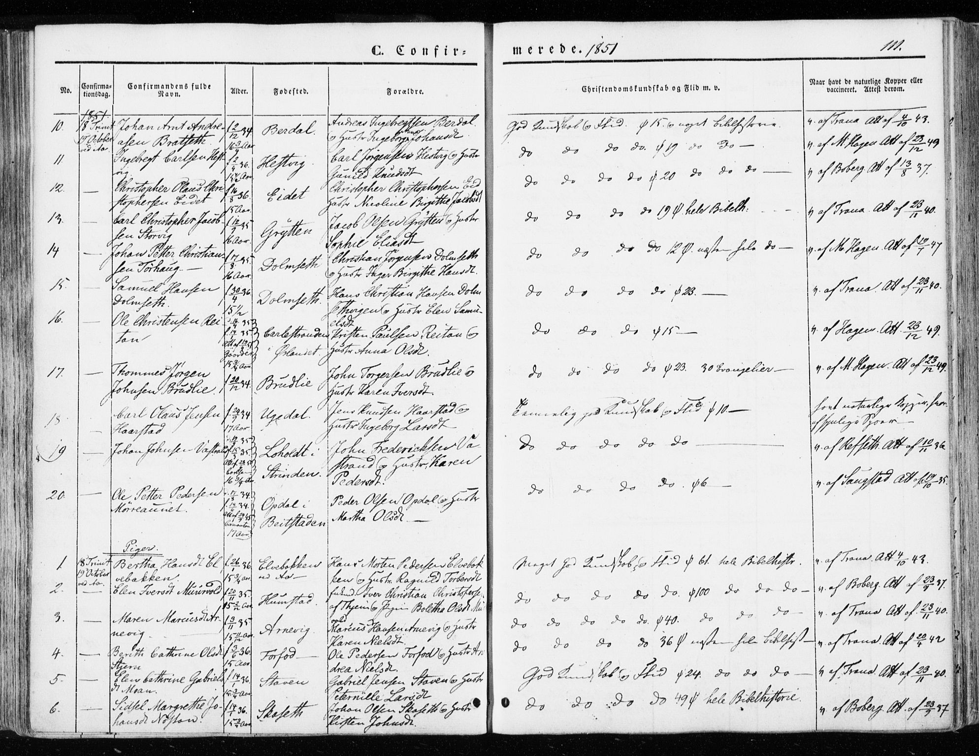 SAT, Ministerialprotokoller, klokkerbøker og fødselsregistre - Sør-Trøndelag, 655/L0677: Ministerialbok nr. 655A06, 1847-1860, s. 111