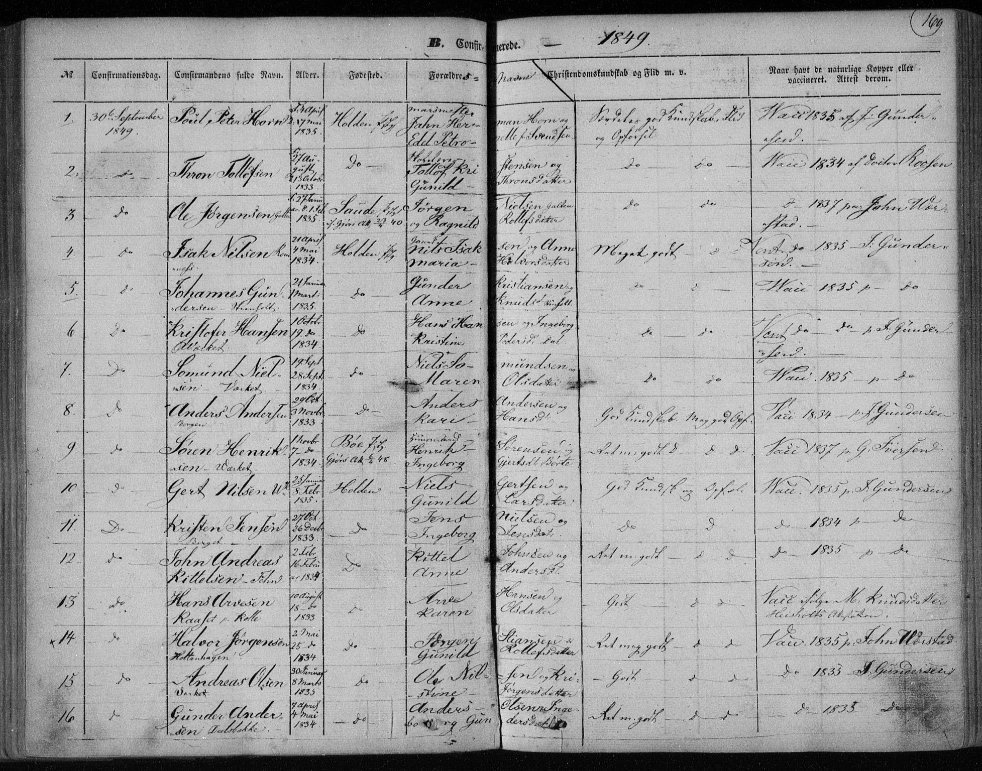 SAKO, Holla kirkebøker, F/Fa/L0005: Ministerialbok nr. 5, 1849-1860, s. 169