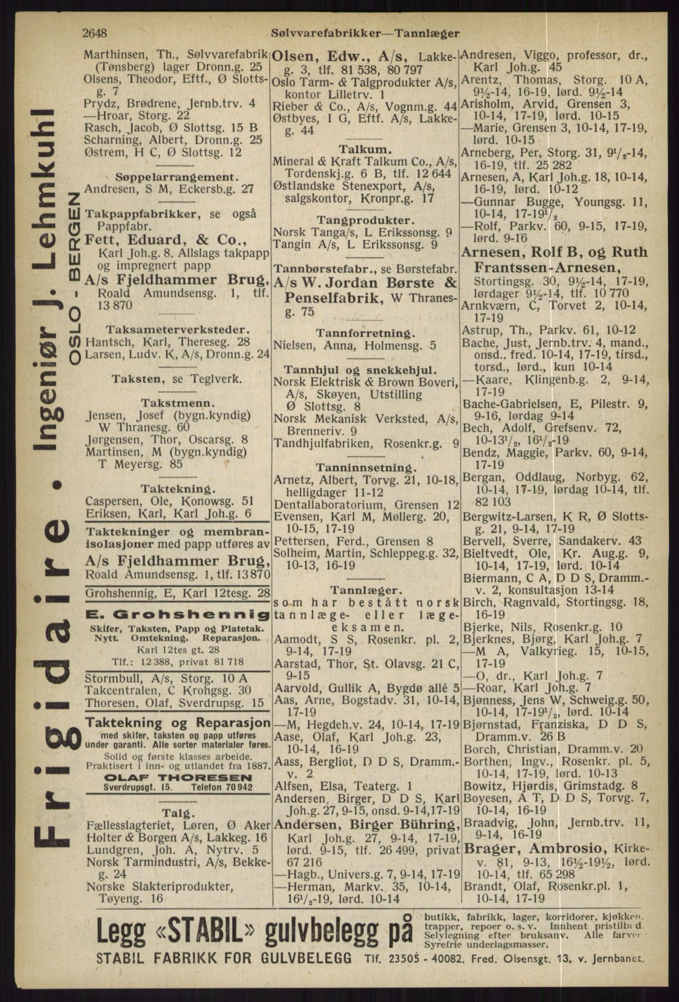 RA, Oslo adressebok (publikasjon)*, 1936, s. 2648