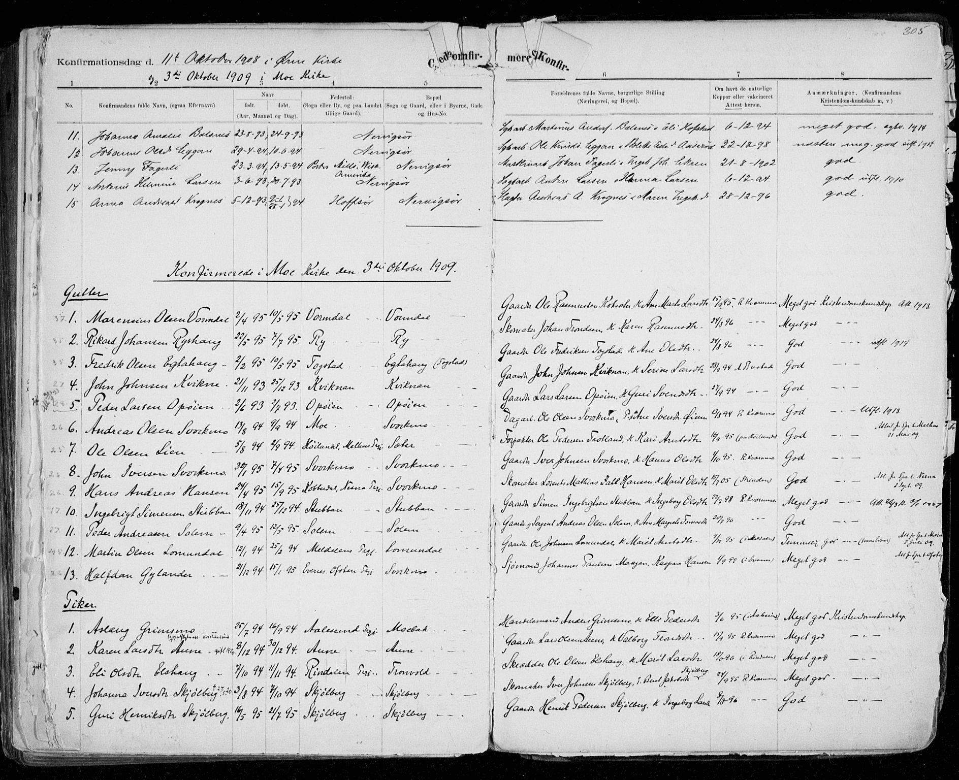SAT, Ministerialprotokoller, klokkerbøker og fødselsregistre - Sør-Trøndelag, 668/L0811: Ministerialbok nr. 668A11, 1894-1913, s. 305