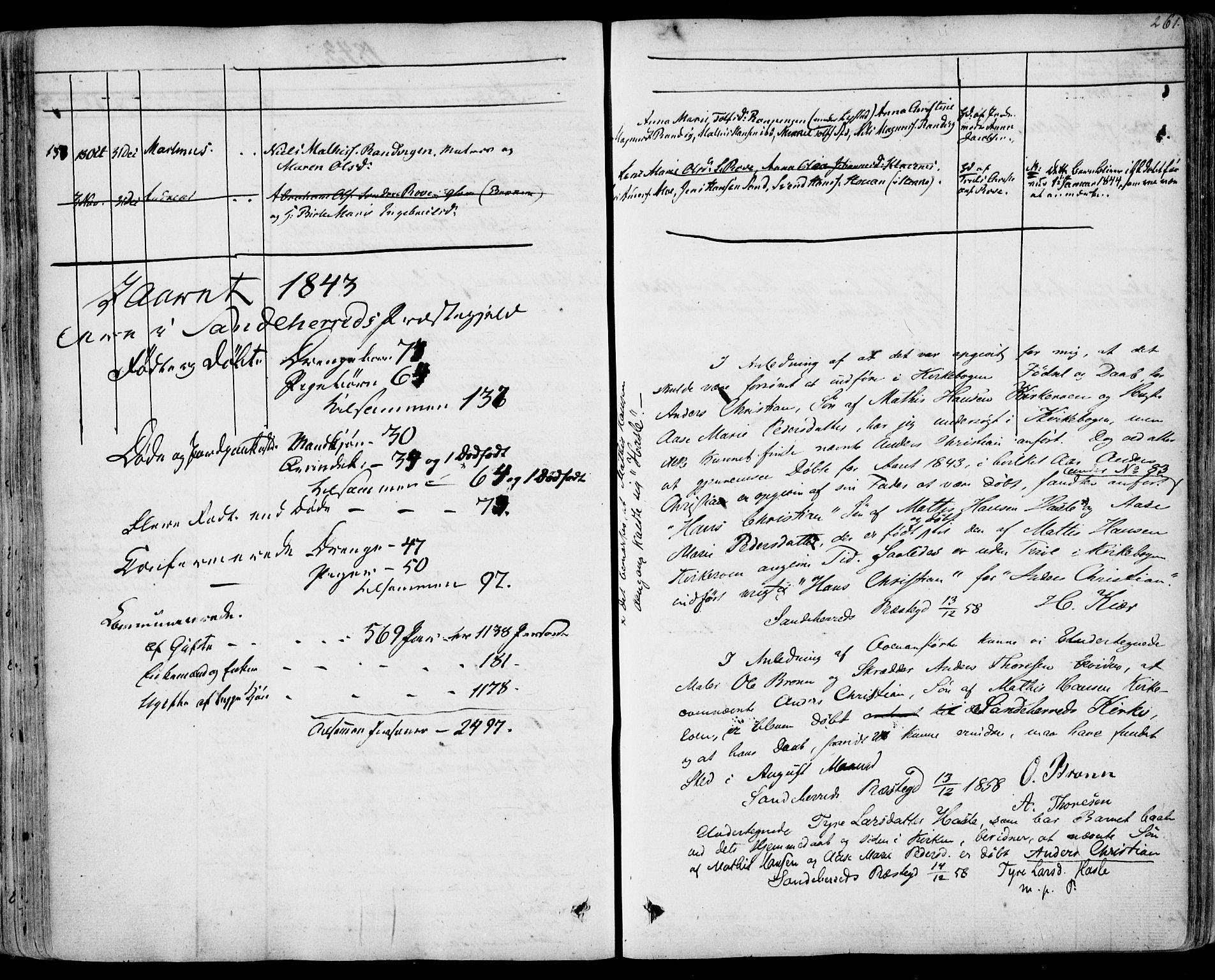 SAKO, Sandar kirkebøker, F/Fa/L0005: Ministerialbok nr. 5, 1832-1847, s. 260-261