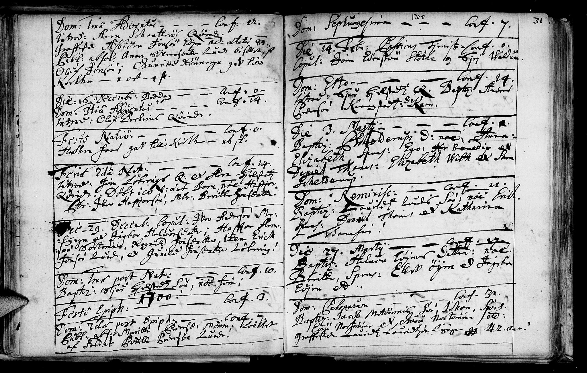 SAT, Ministerialprotokoller, klokkerbøker og fødselsregistre - Sør-Trøndelag, 692/L1101: Ministerialbok nr. 692A01, 1690-1746, s. 31
