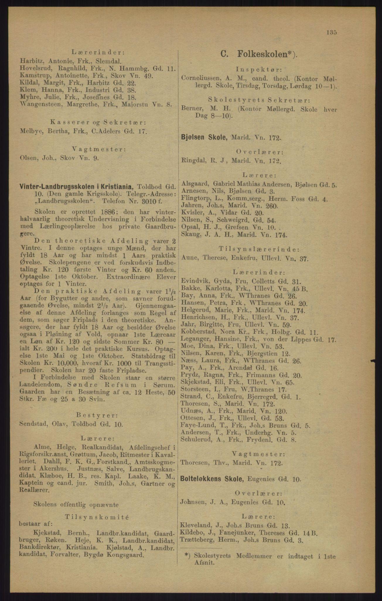 RA, Kristiania adressebok (publikasjon)*, 1905, s. 135