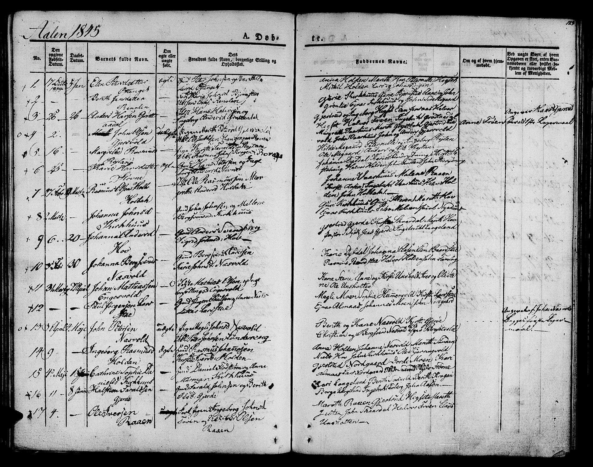 SAT, Ministerialprotokoller, klokkerbøker og fødselsregistre - Sør-Trøndelag, 685/L0959: Ministerialbok nr. 685A04 /3, 1829-1845, s. 123
