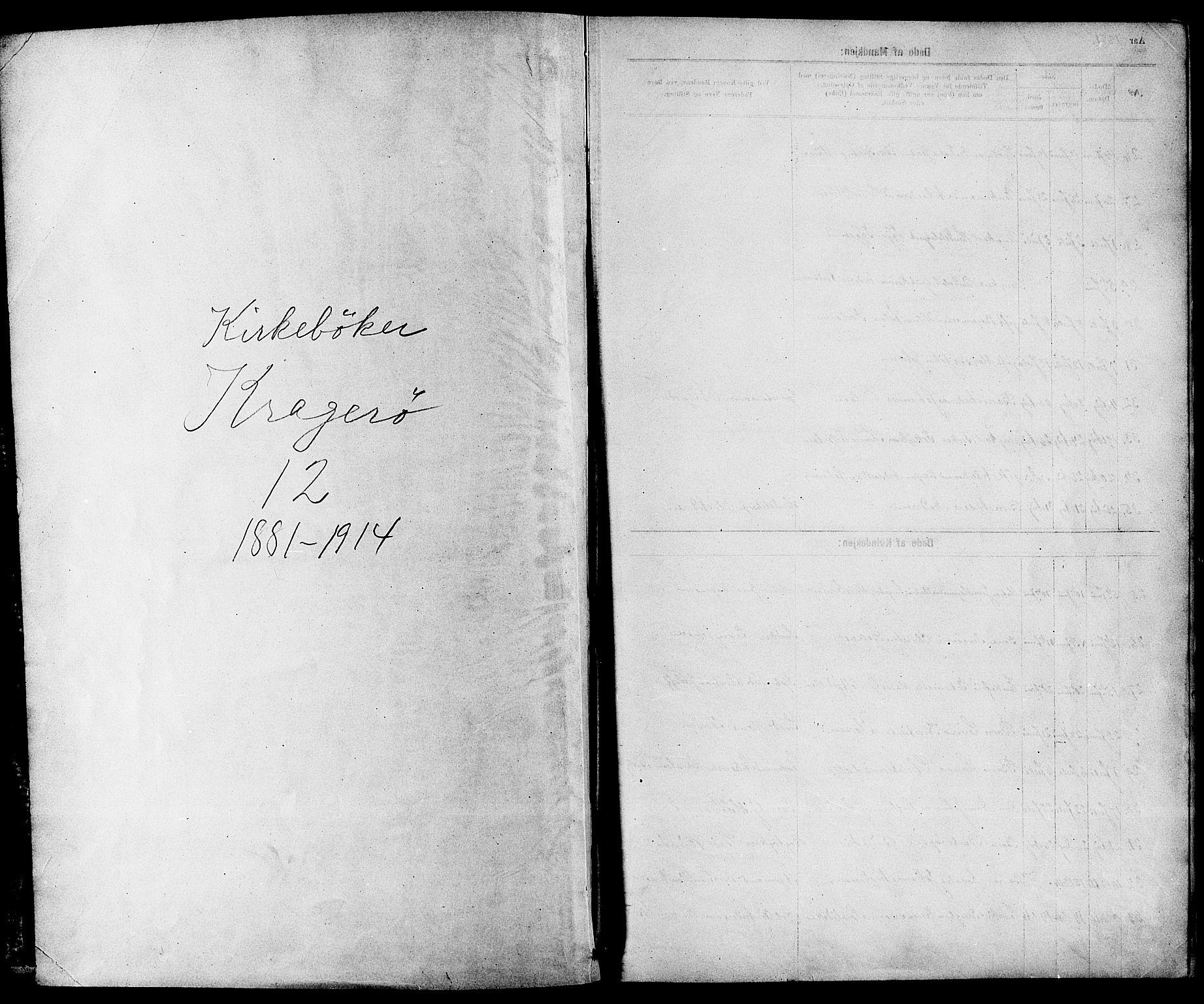 SAKO, Kragerø kirkebøker, G/Ga/L0008: Klokkerbok nr. 8, 1881-1914