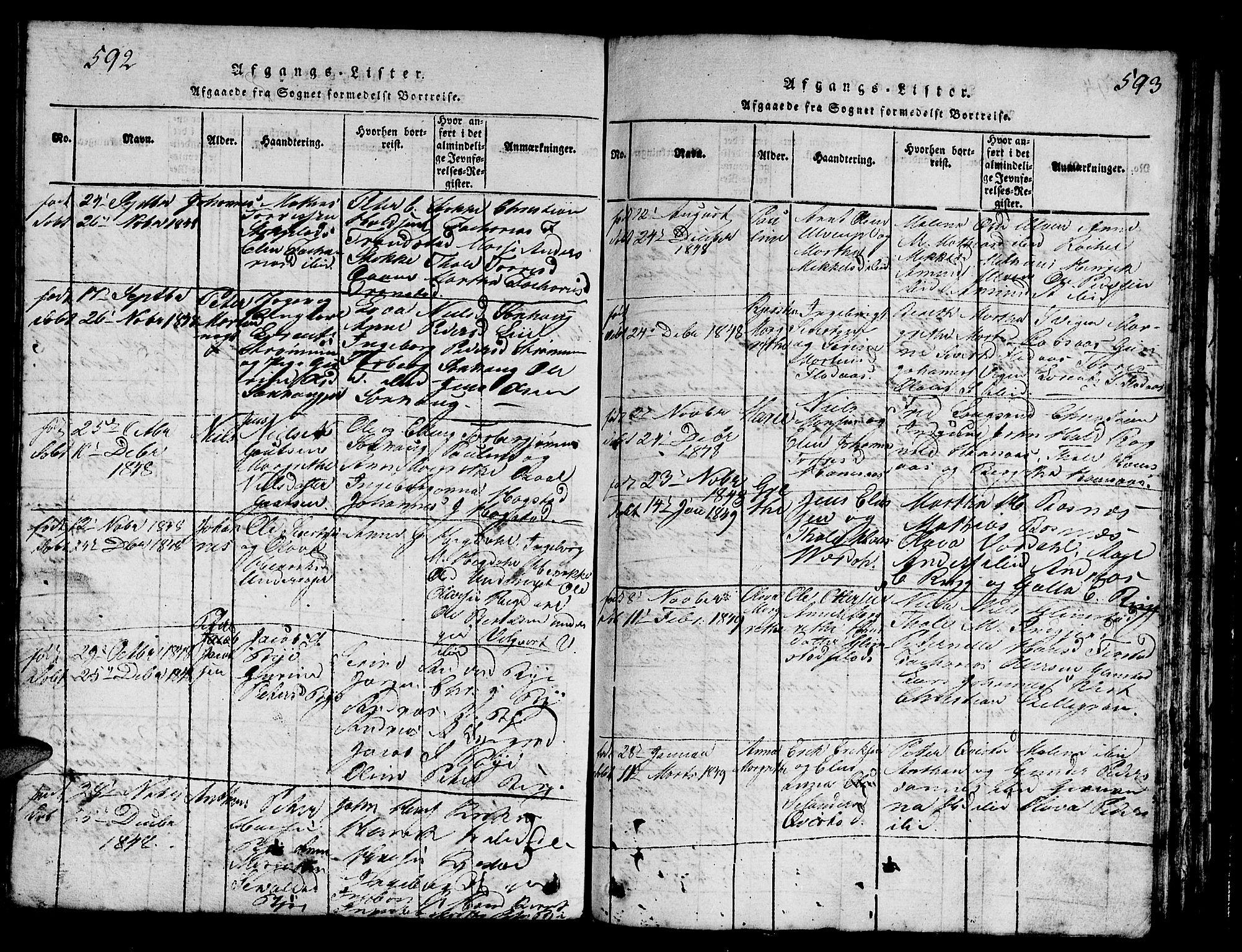 SAT, Ministerialprotokoller, klokkerbøker og fødselsregistre - Nord-Trøndelag, 730/L0298: Klokkerbok nr. 730C01, 1816-1849, s. 592-593