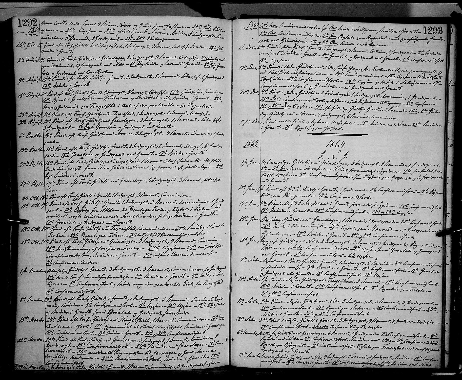 SAH, Gran prestekontor, Ministerialbok nr. 12, 1856-1874, s. 1292-1293