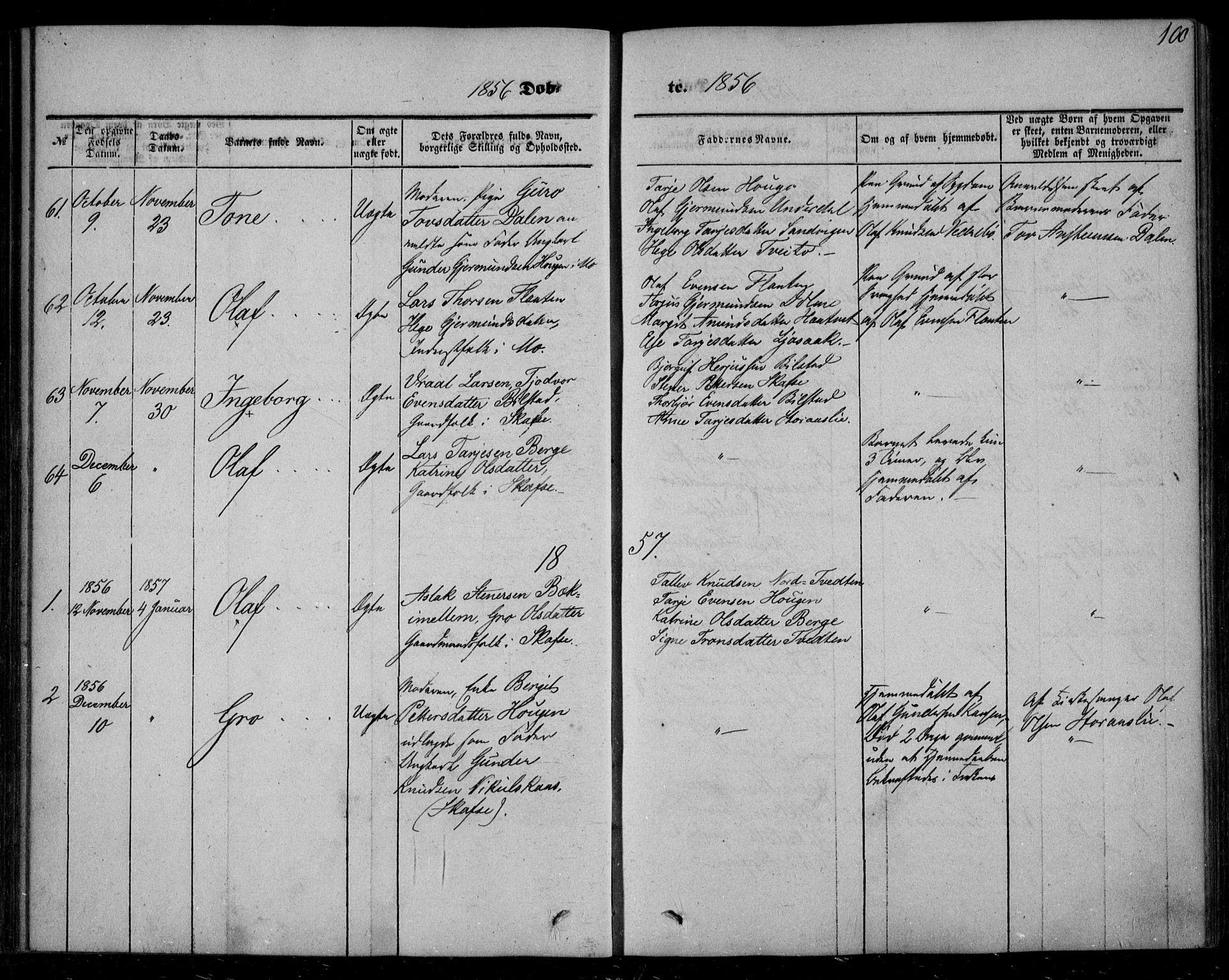 SAKO, Mo kirkebøker, F/Fa/L0005: Ministerialbok nr. I 5, 1844-1864, s. 100