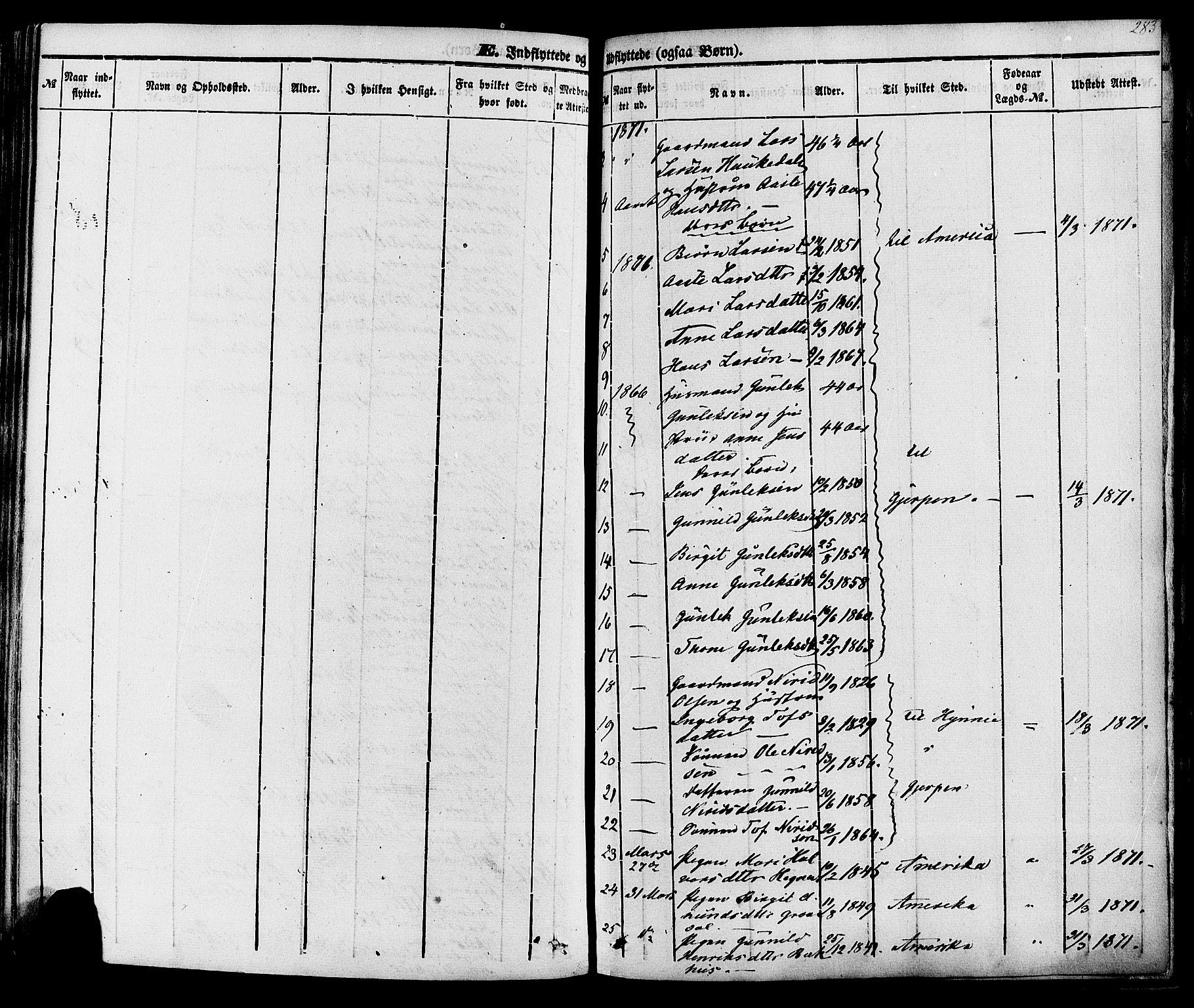 SAKO, Sauherad kirkebøker, F/Fa/L0007: Ministerialbok nr. I 7, 1851-1873, s. 283