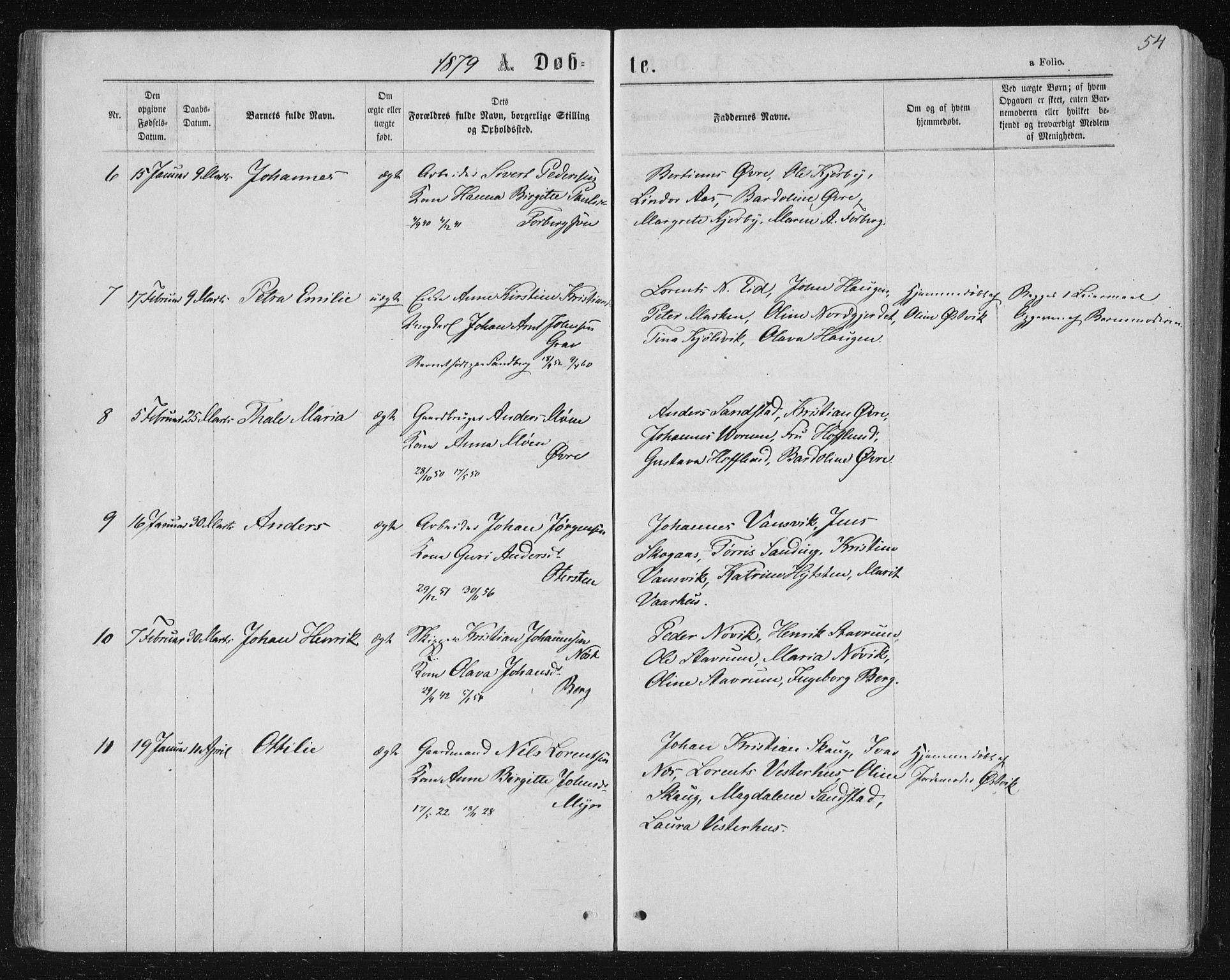 SAT, Ministerialprotokoller, klokkerbøker og fødselsregistre - Nord-Trøndelag, 722/L0219: Ministerialbok nr. 722A06, 1868-1880, s. 54