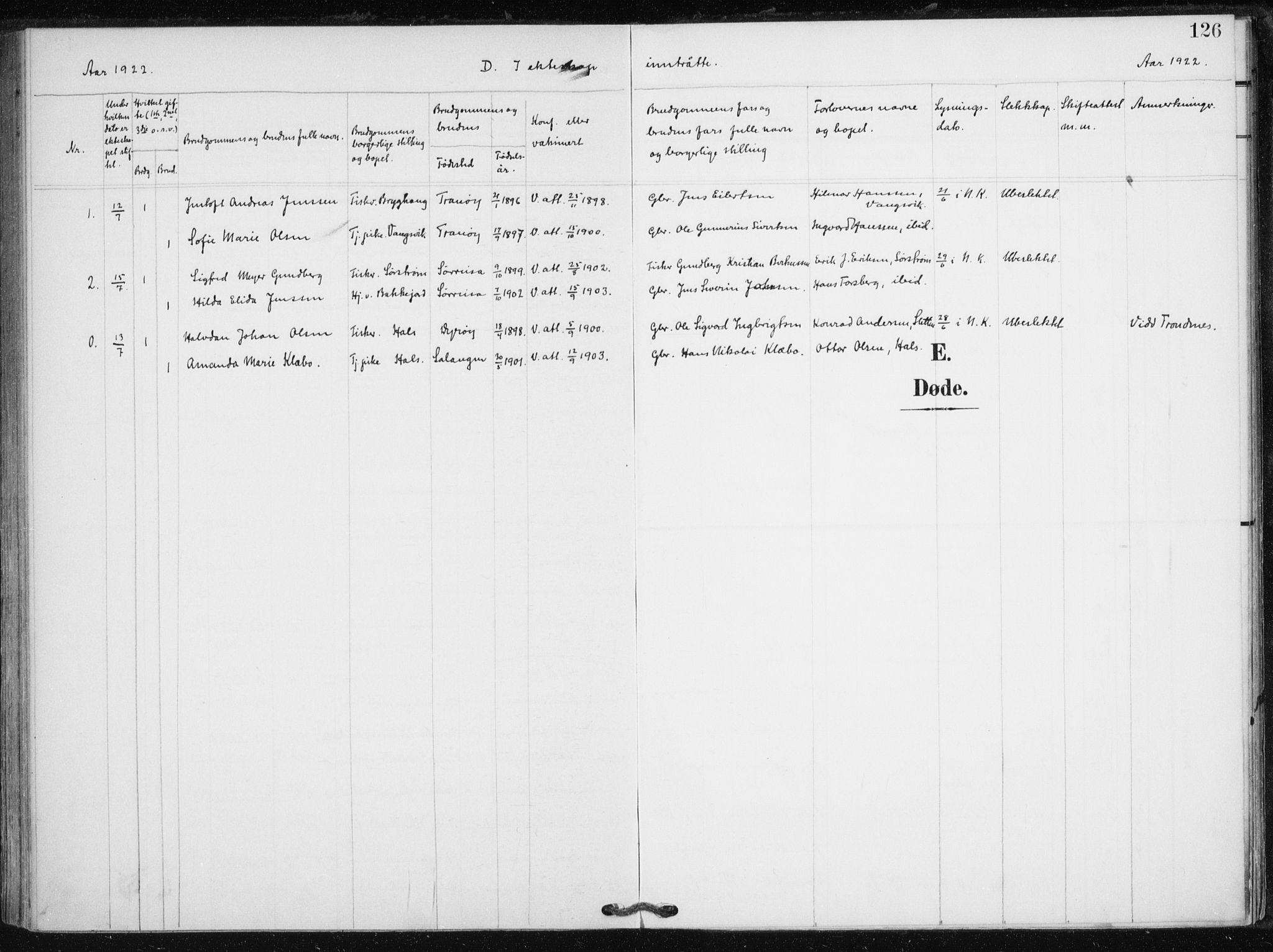 SATØ, Tranøy sokneprestkontor, I/Ia/Iaa/L0013kirke: Ministerialbok nr. 13, 1905-1922, s. 126