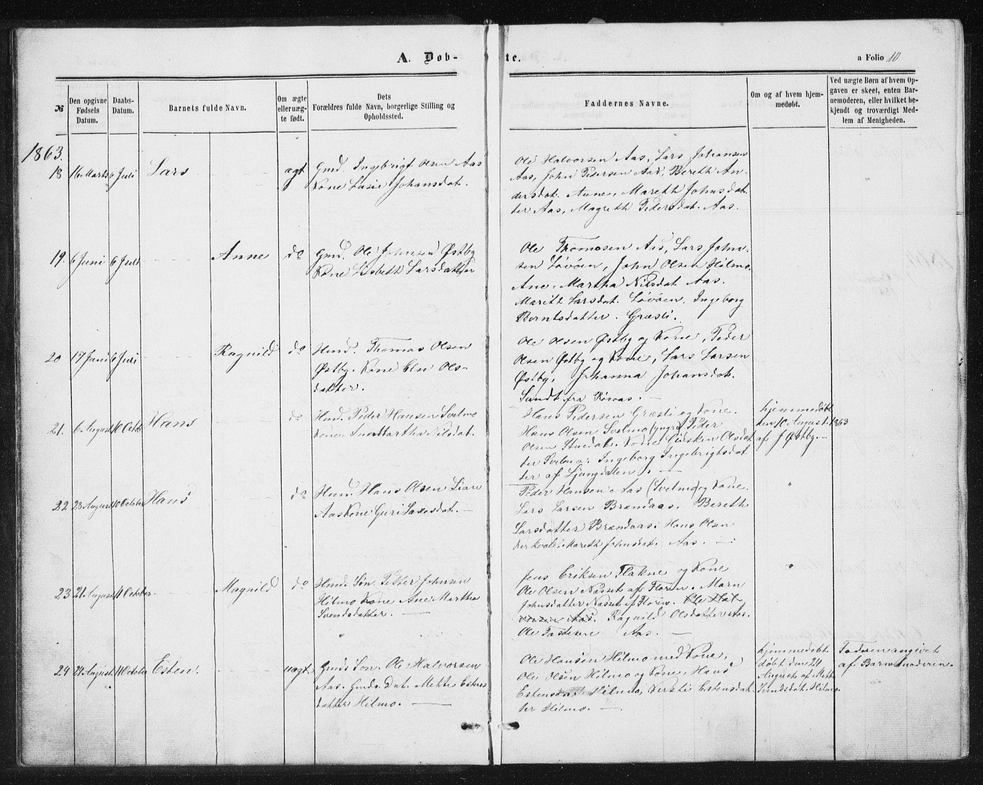 SAT, Ministerialprotokoller, klokkerbøker og fødselsregistre - Sør-Trøndelag, 698/L1166: Klokkerbok nr. 698C03, 1861-1887, s. 10