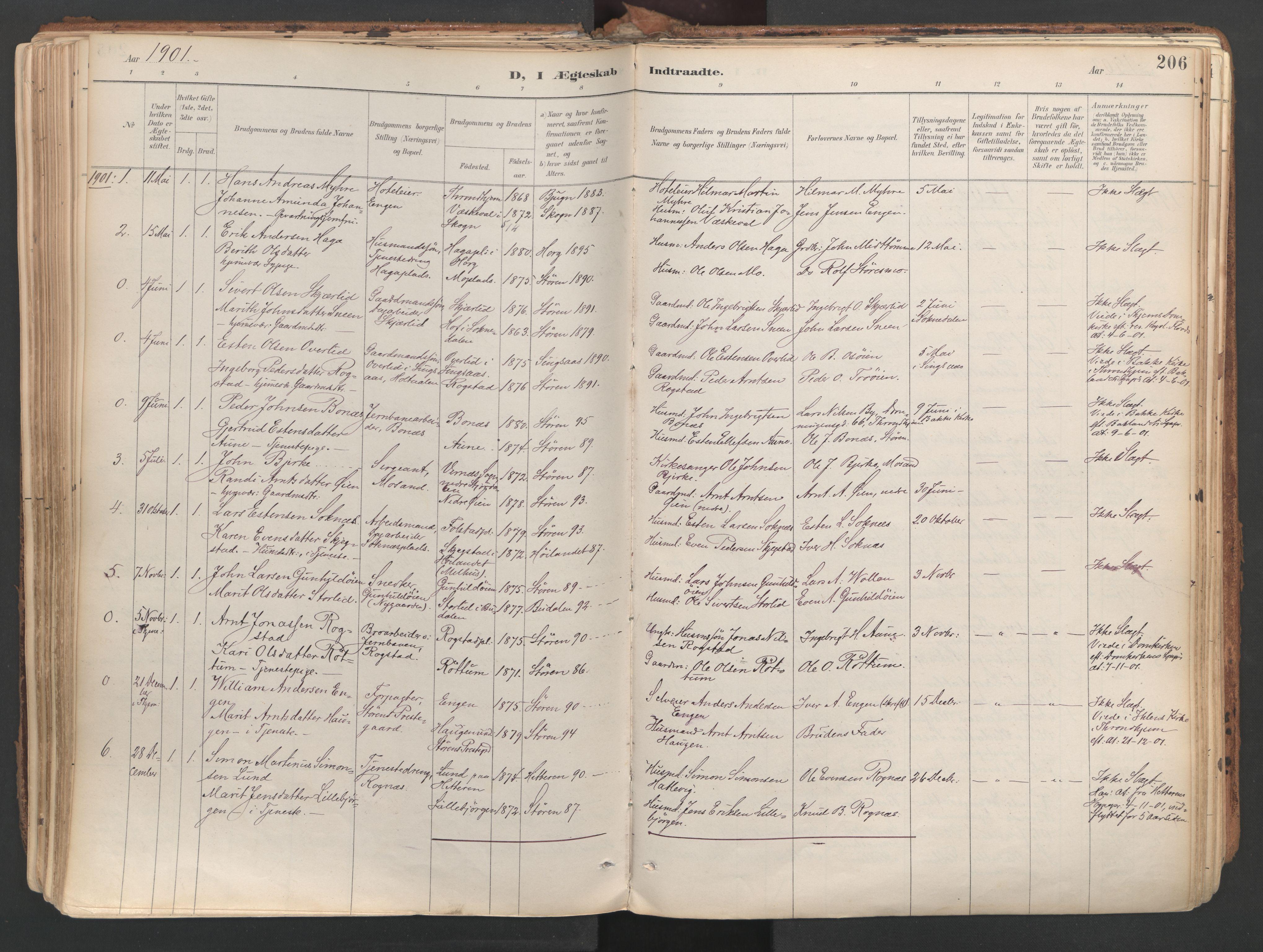 SAT, Ministerialprotokoller, klokkerbøker og fødselsregistre - Sør-Trøndelag, 687/L1004: Ministerialbok nr. 687A10, 1891-1923, s. 206