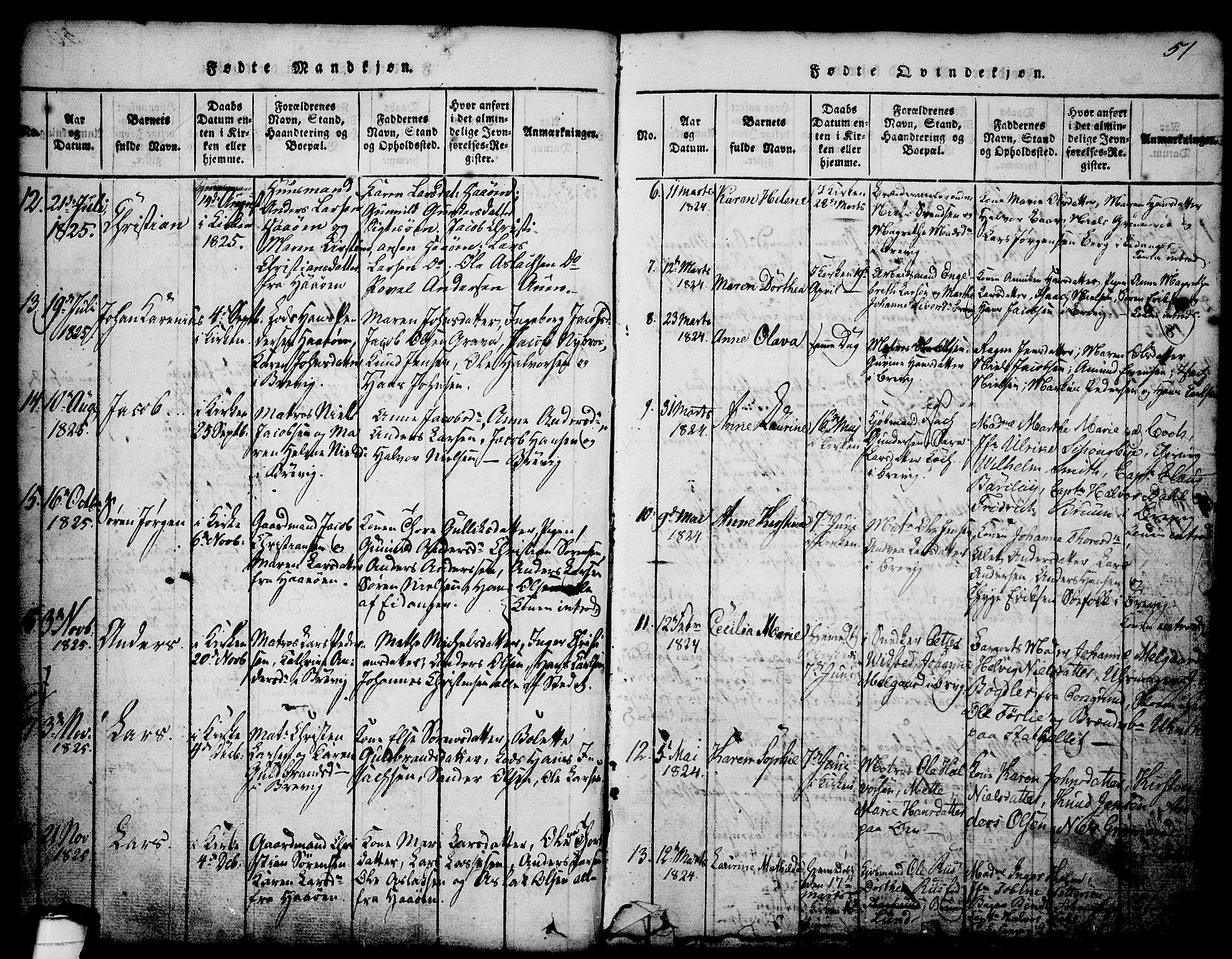 SAKO, Brevik kirkebøker, G/Ga/L0001: Klokkerbok nr. 1, 1814-1845, s. 51