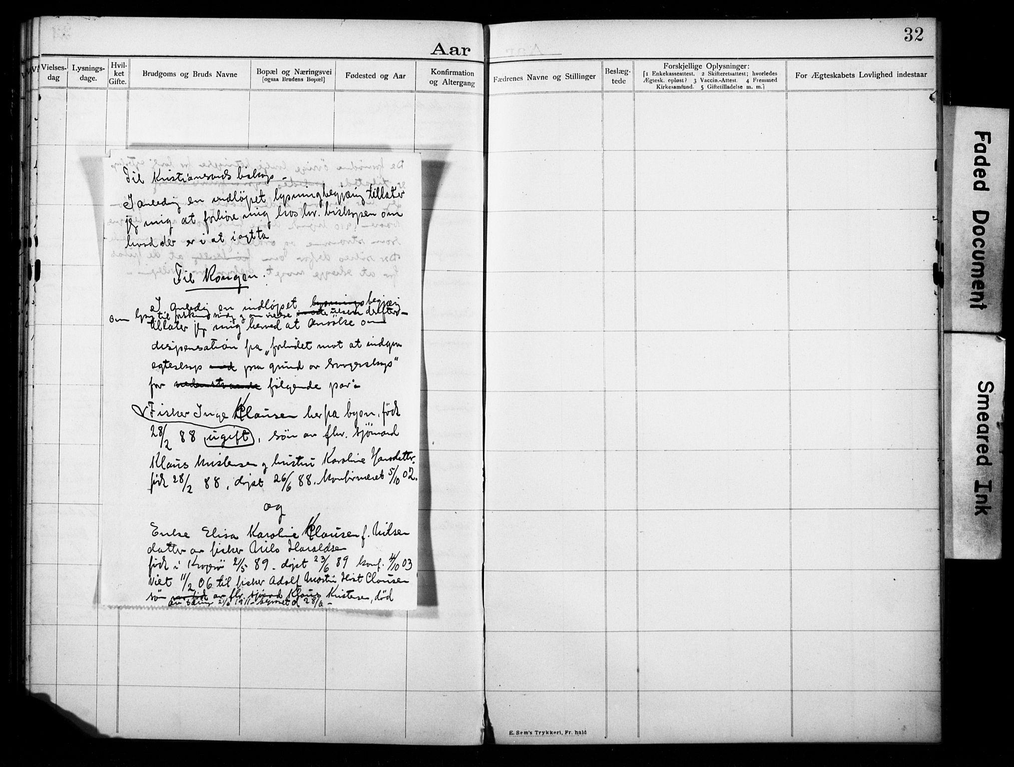 SAKO, Kragerø kirkebøker, H/Ha/L0001: Lysningsprotokoll nr. I 1, 1905-1918, s. 32
