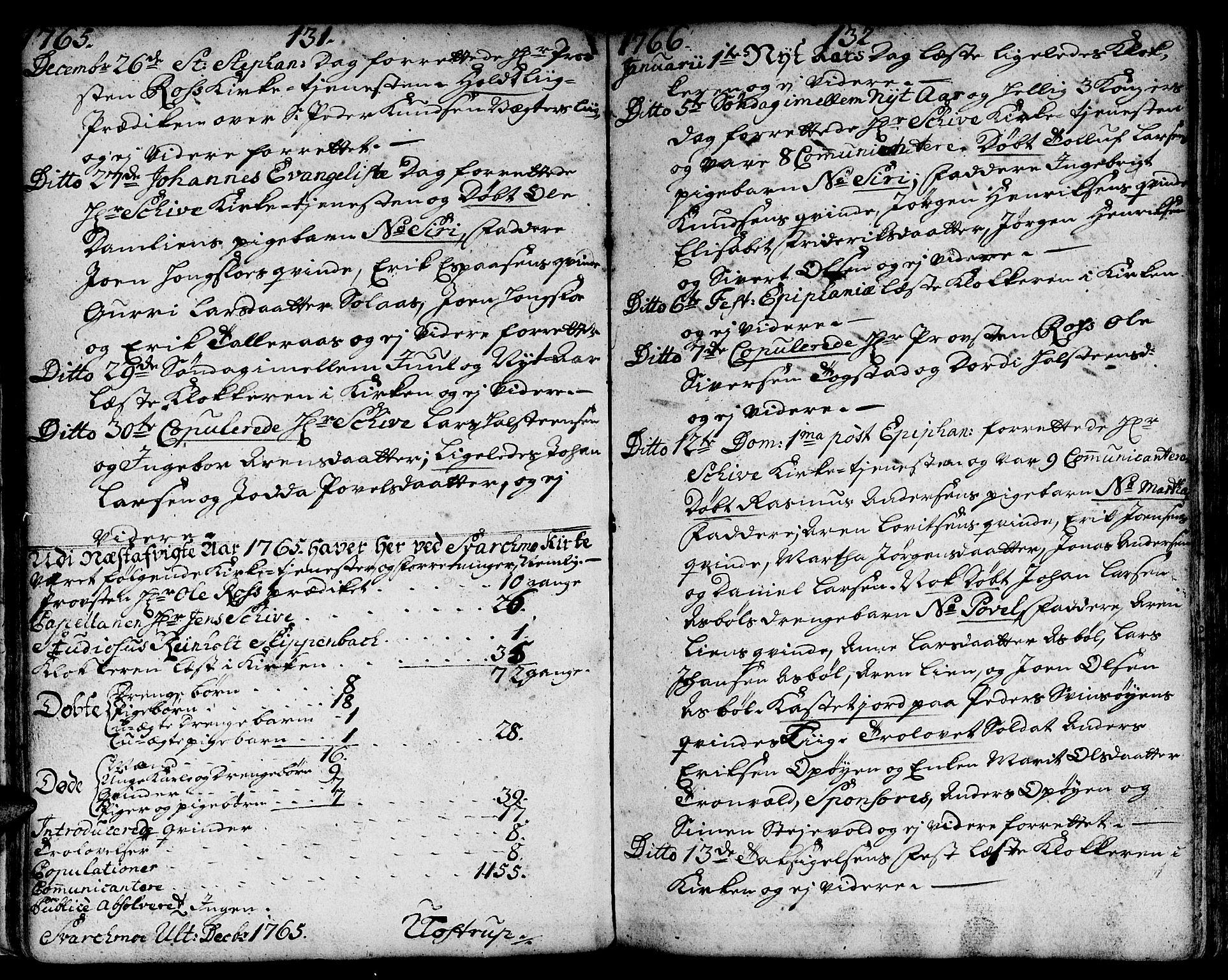 SAT, Ministerialprotokoller, klokkerbøker og fødselsregistre - Sør-Trøndelag, 671/L0840: Ministerialbok nr. 671A02, 1756-1794, s. 131-132