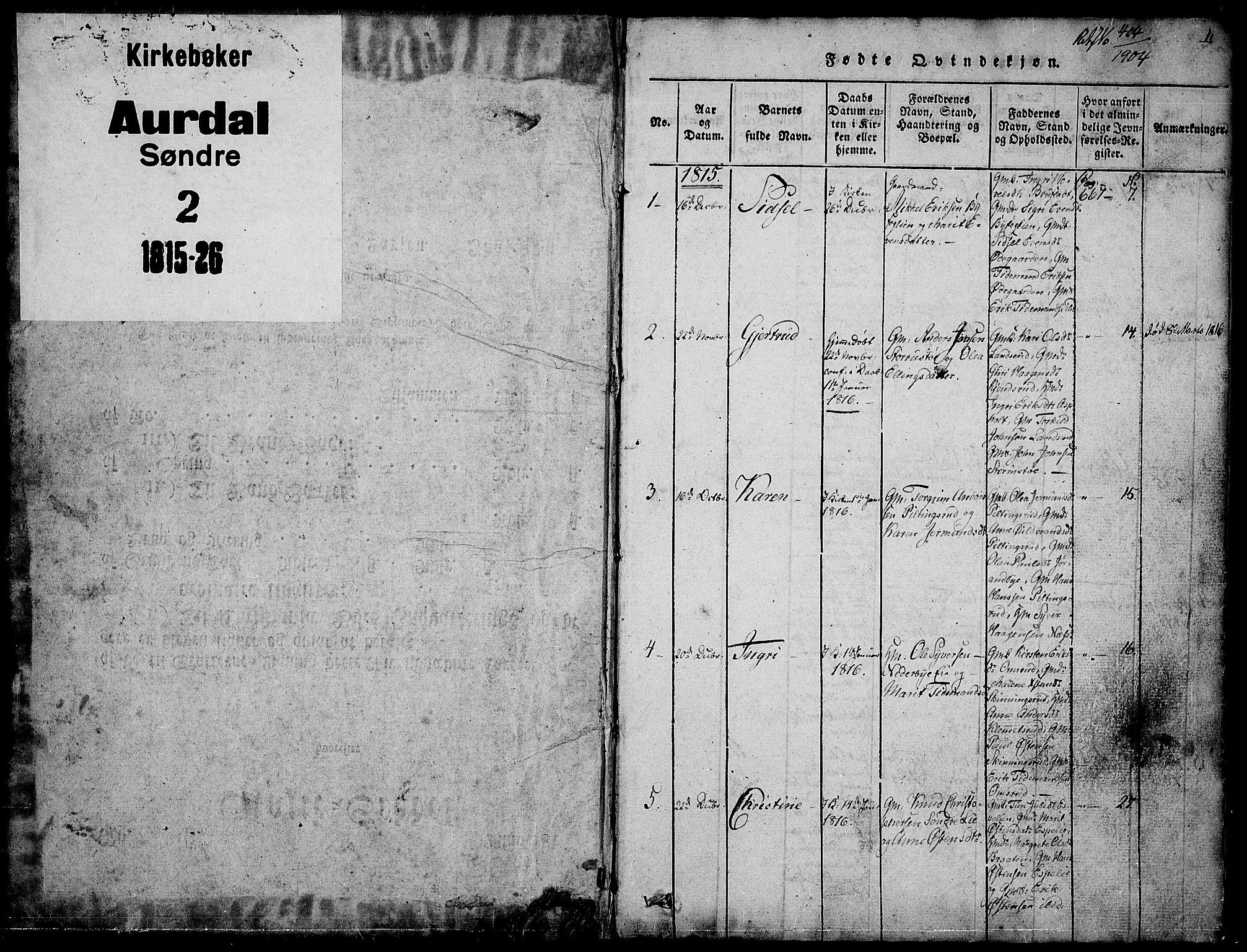 SAH, Sør-Aurdal prestekontor, Klokkerbok nr. 1, 1815-1826, s. 0-1