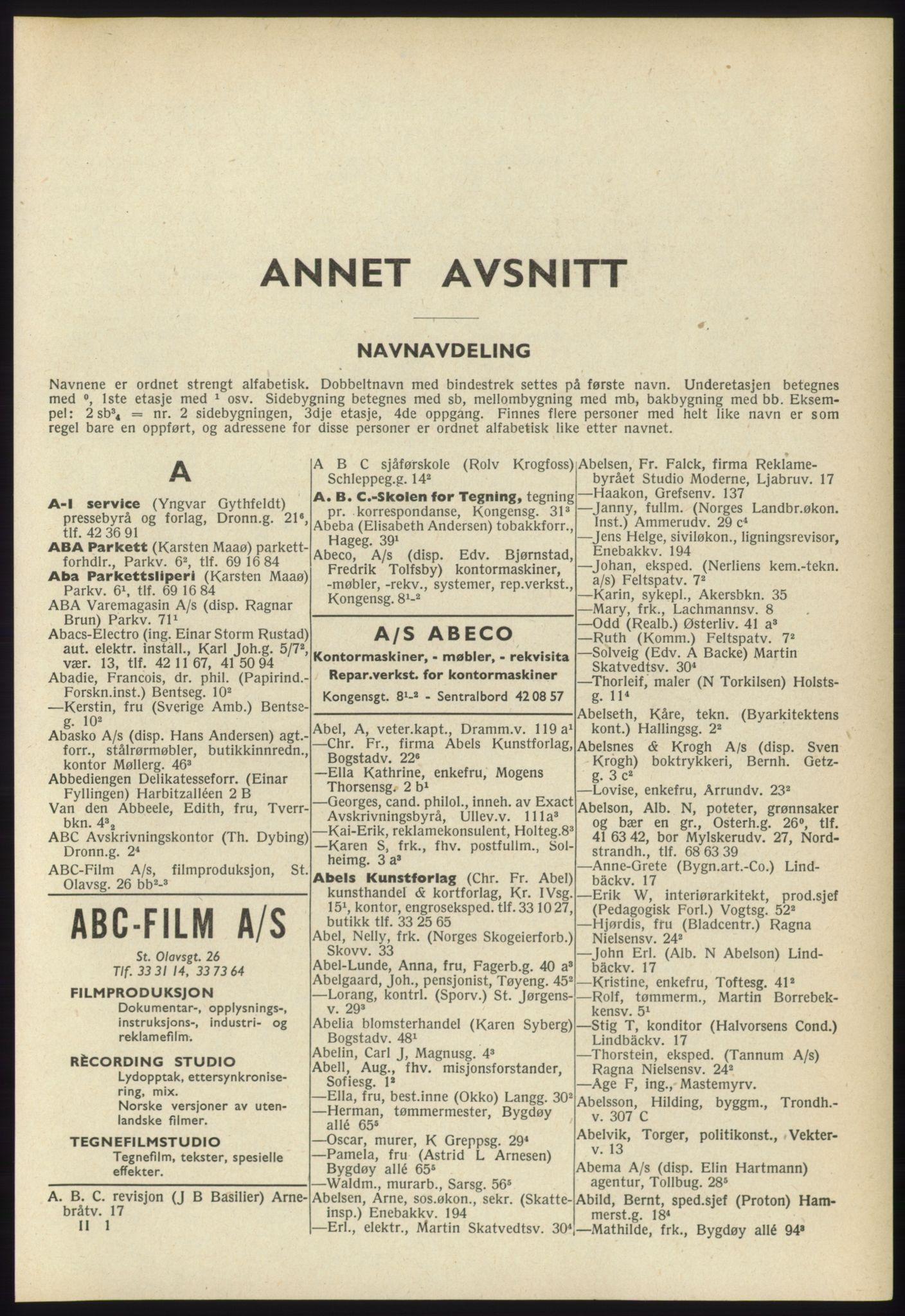 RA, Oslo adressebok (publikasjon)*, 1960-1961, s. 41