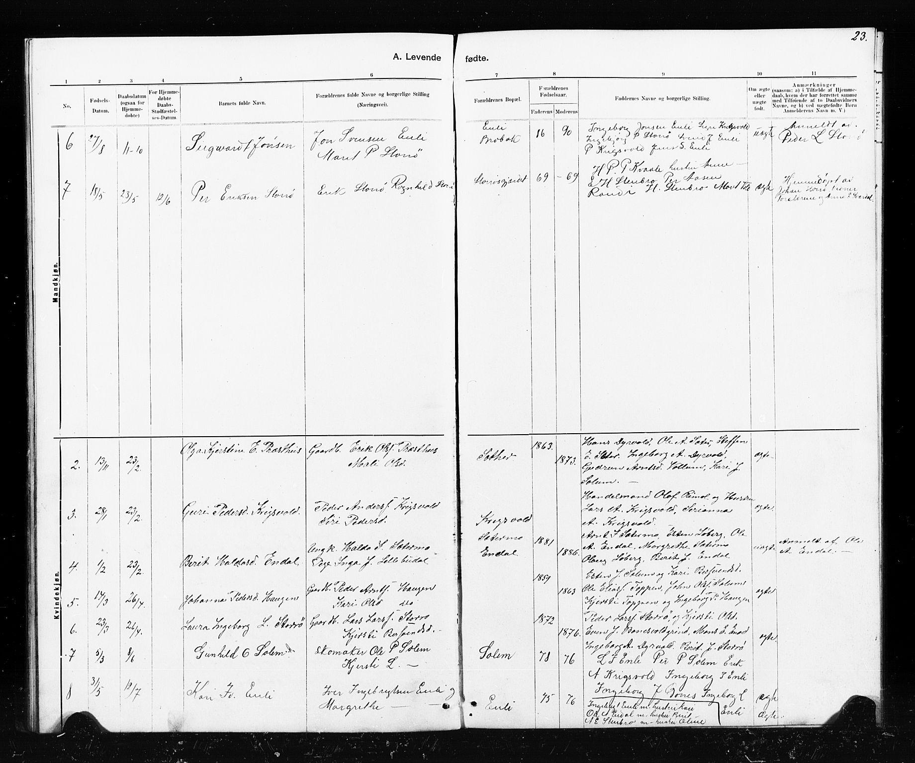 SAT, Ministerialprotokoller, klokkerbøker og fødselsregistre - Sør-Trøndelag, 690/L1051: Klokkerbok nr. 690C01, 1887-1908, s. 23