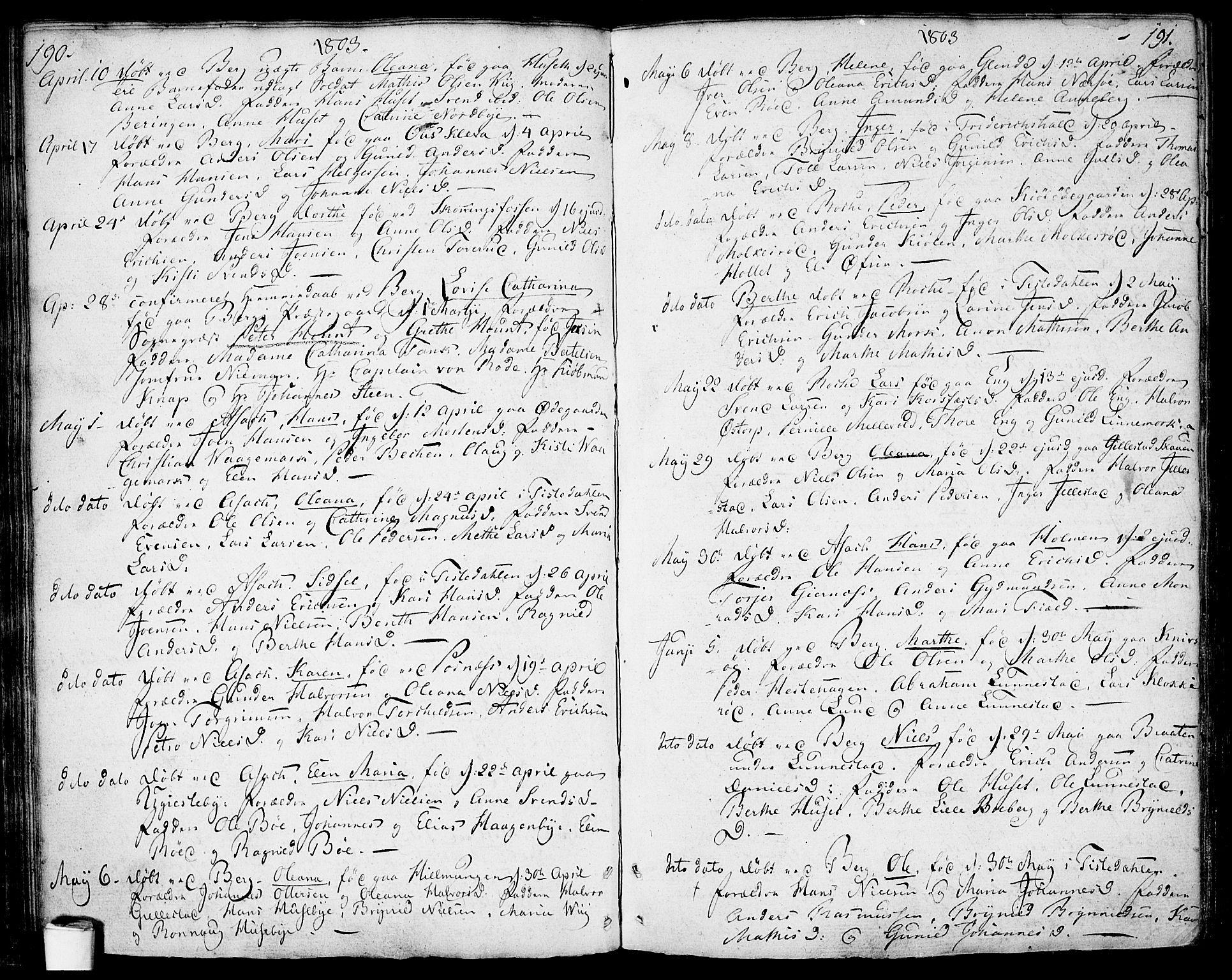 SAO, Berg prestekontor Kirkebøker, F/Fa/L0001: Ministerialbok nr. I 1, 1770-1814, s. 190-191