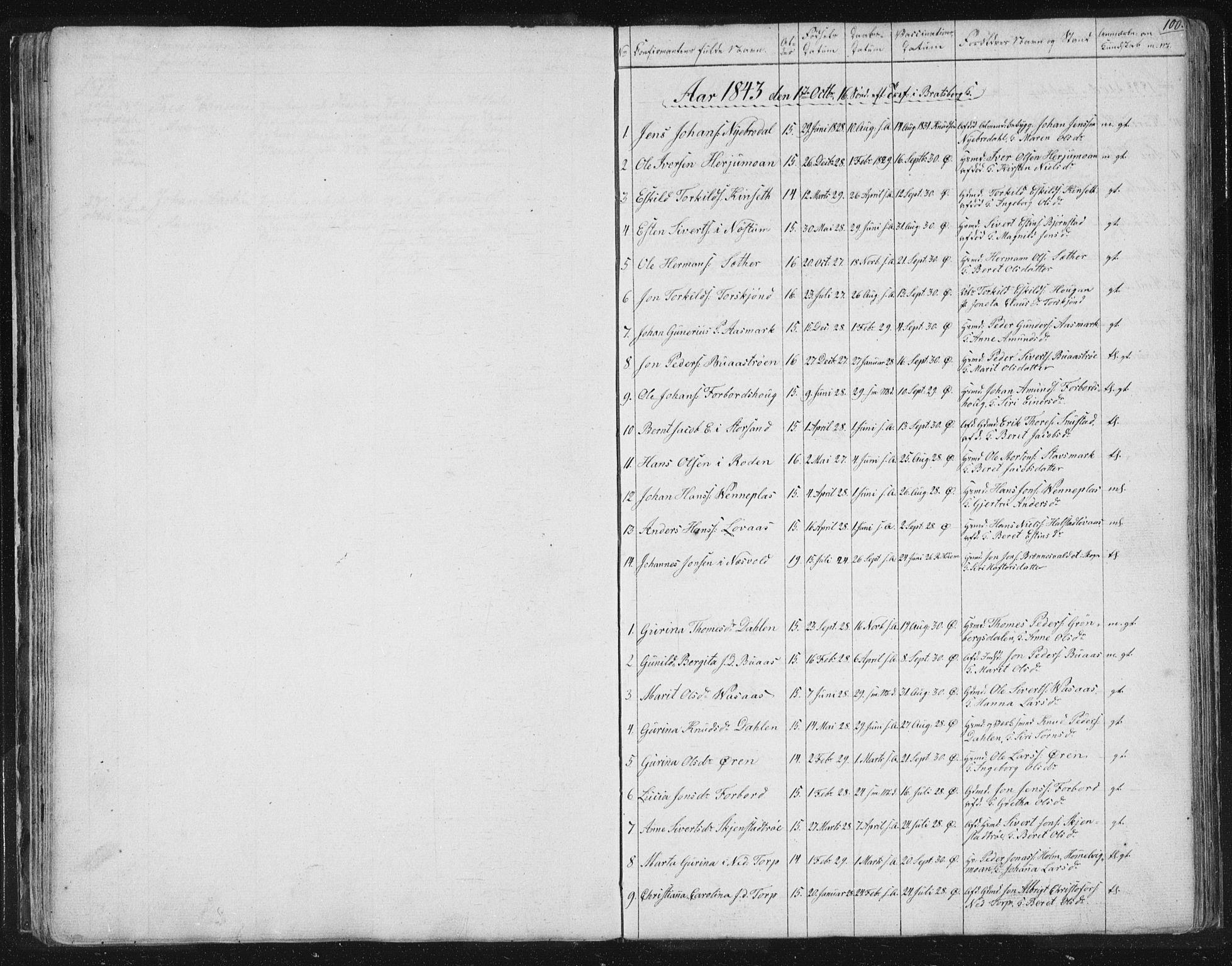 SAT, Ministerialprotokoller, klokkerbøker og fødselsregistre - Sør-Trøndelag, 616/L0406: Ministerialbok nr. 616A03, 1843-1879, s. 100