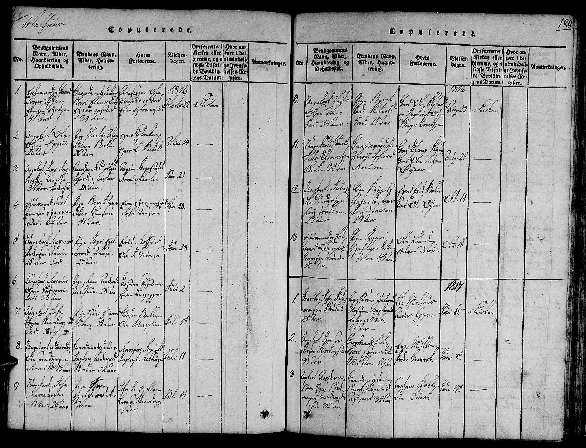 SAT, Ministerialprotokoller, klokkerbøker og fødselsregistre - Sør-Trøndelag, 691/L1065: Ministerialbok nr. 691A03 /1, 1816-1826, s. 189