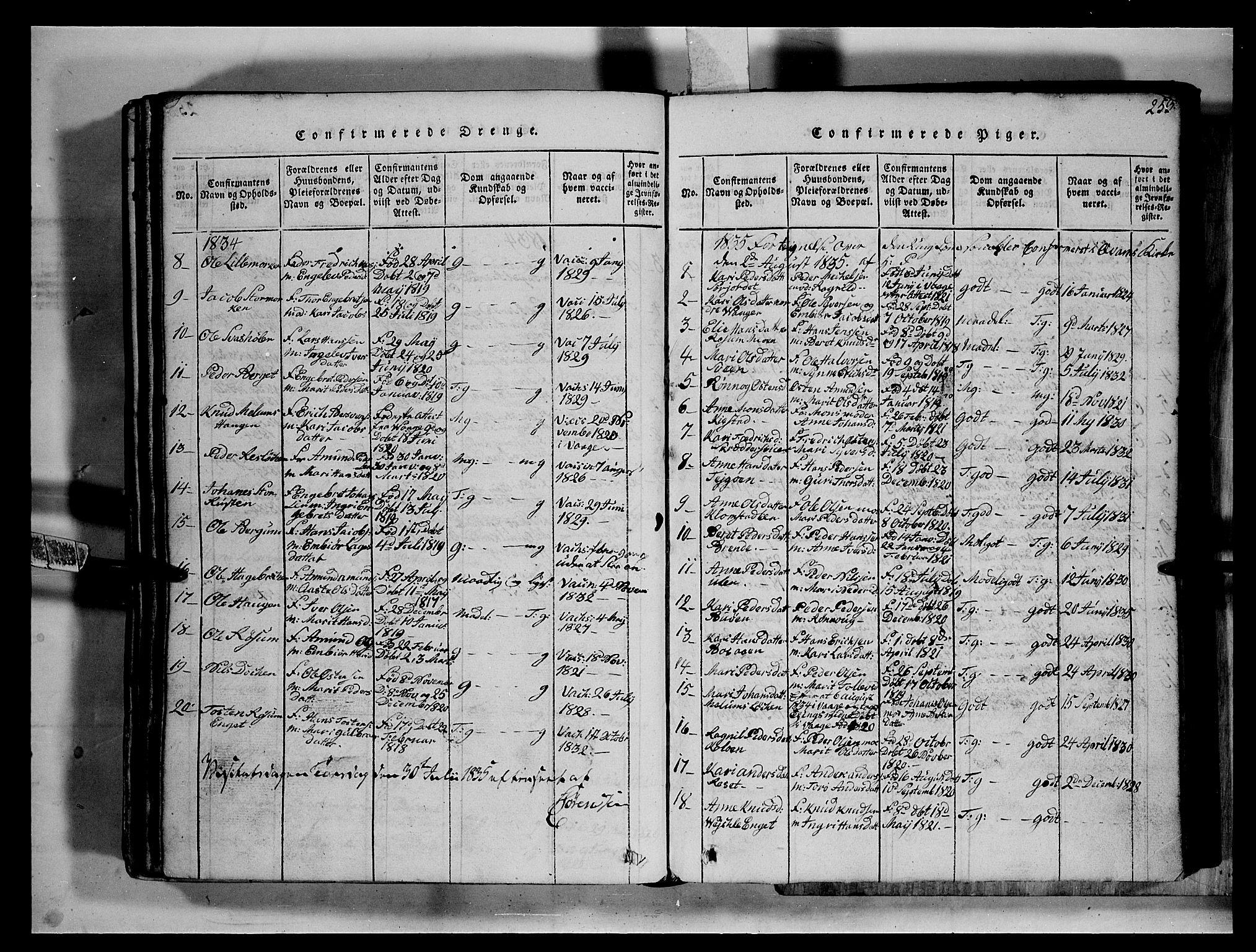 SAH, Fron prestekontor, H/Ha/Hab/L0002: Klokkerbok nr. 2, 1816-1850, s. 253