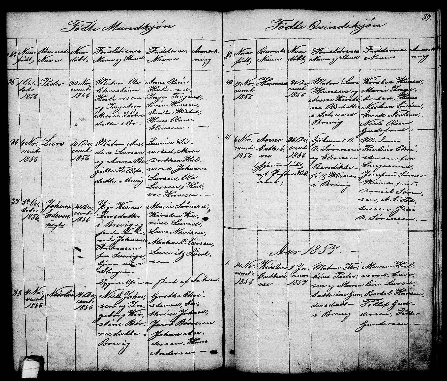 SAKO, Brevik kirkebøker, G/Ga/L0002: Klokkerbok nr. 2, 1846-1865, s. 89