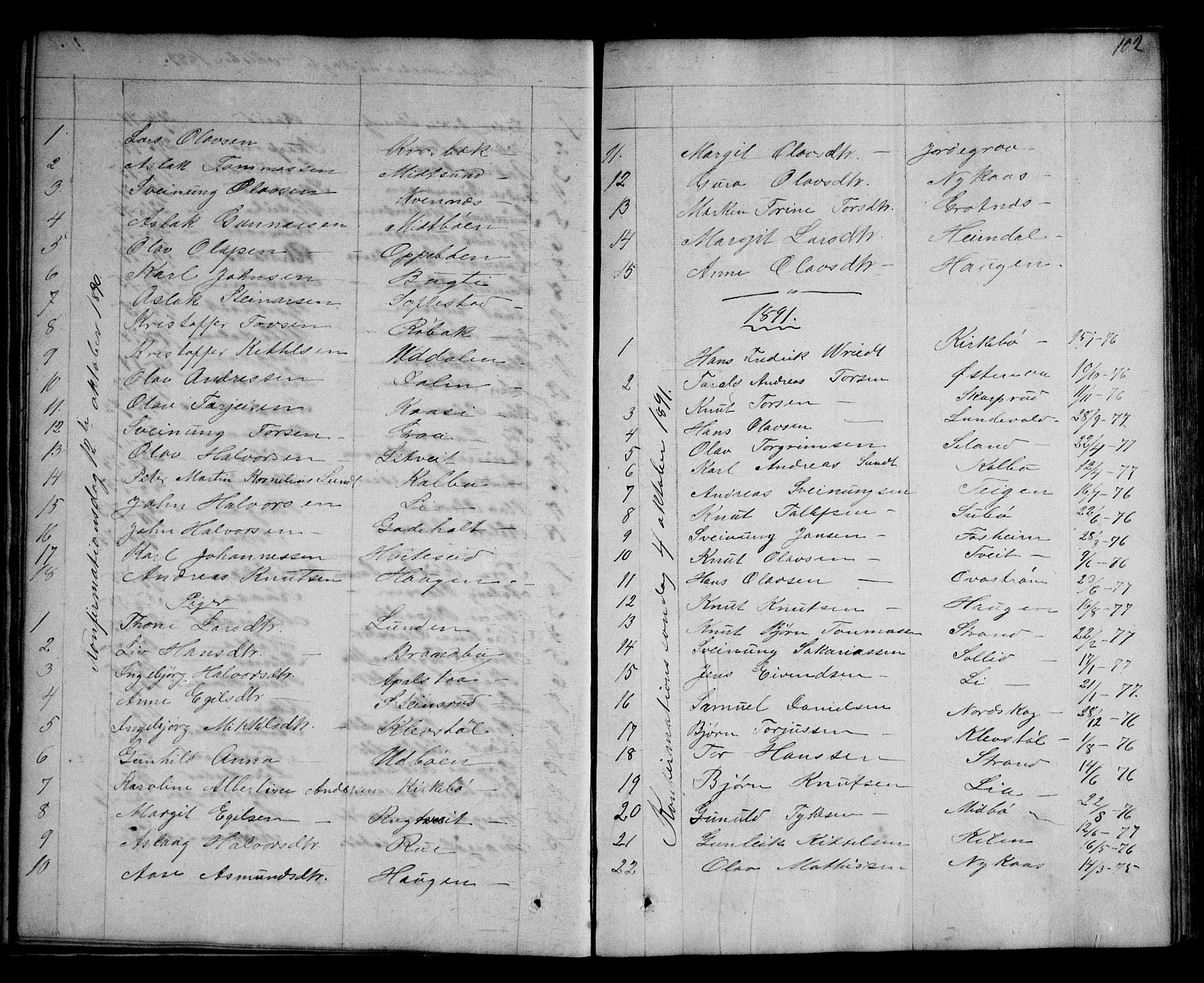 SAKO, Kviteseid kirkebøker, G/Ga/L0001: Klokkerbok nr. I 1, 1850-1893, s. 102