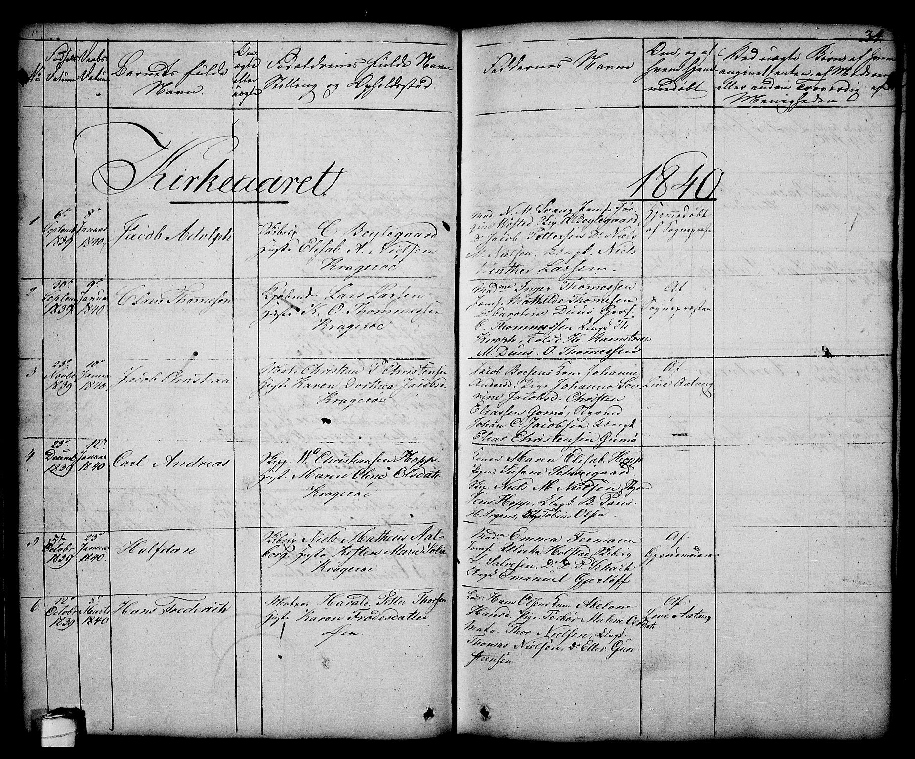 SAKO, Kragerø kirkebøker, G/Ga/L0003: Klokkerbok nr. 3, 1832-1852, s. 34