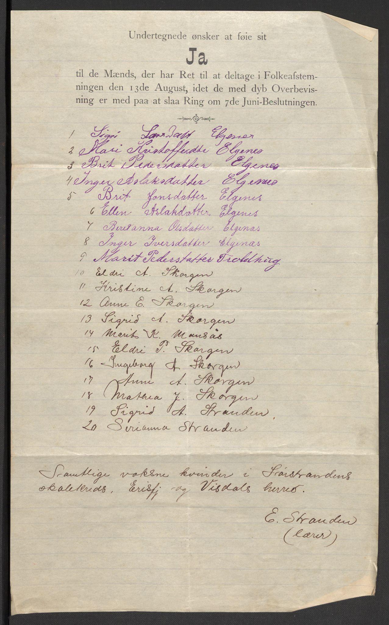 RA, Justisdepartementet, 2. sivilkontor C, F/L0125B: Folkeavstemmingen august 1905, 1905, s. 111