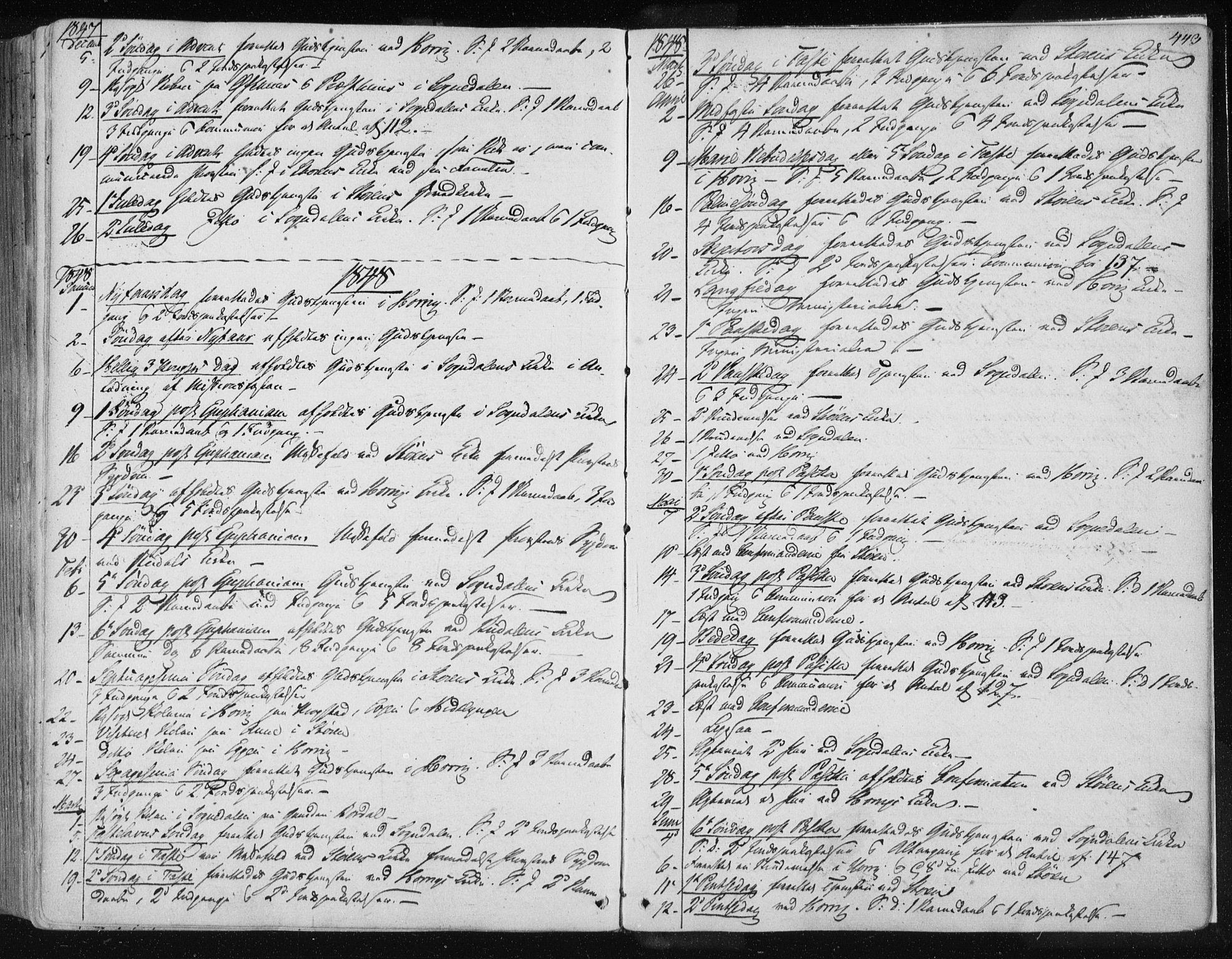 SAT, Ministerialprotokoller, klokkerbøker og fødselsregistre - Sør-Trøndelag, 687/L0997: Ministerialbok nr. 687A05 /1, 1843-1848, s. 443