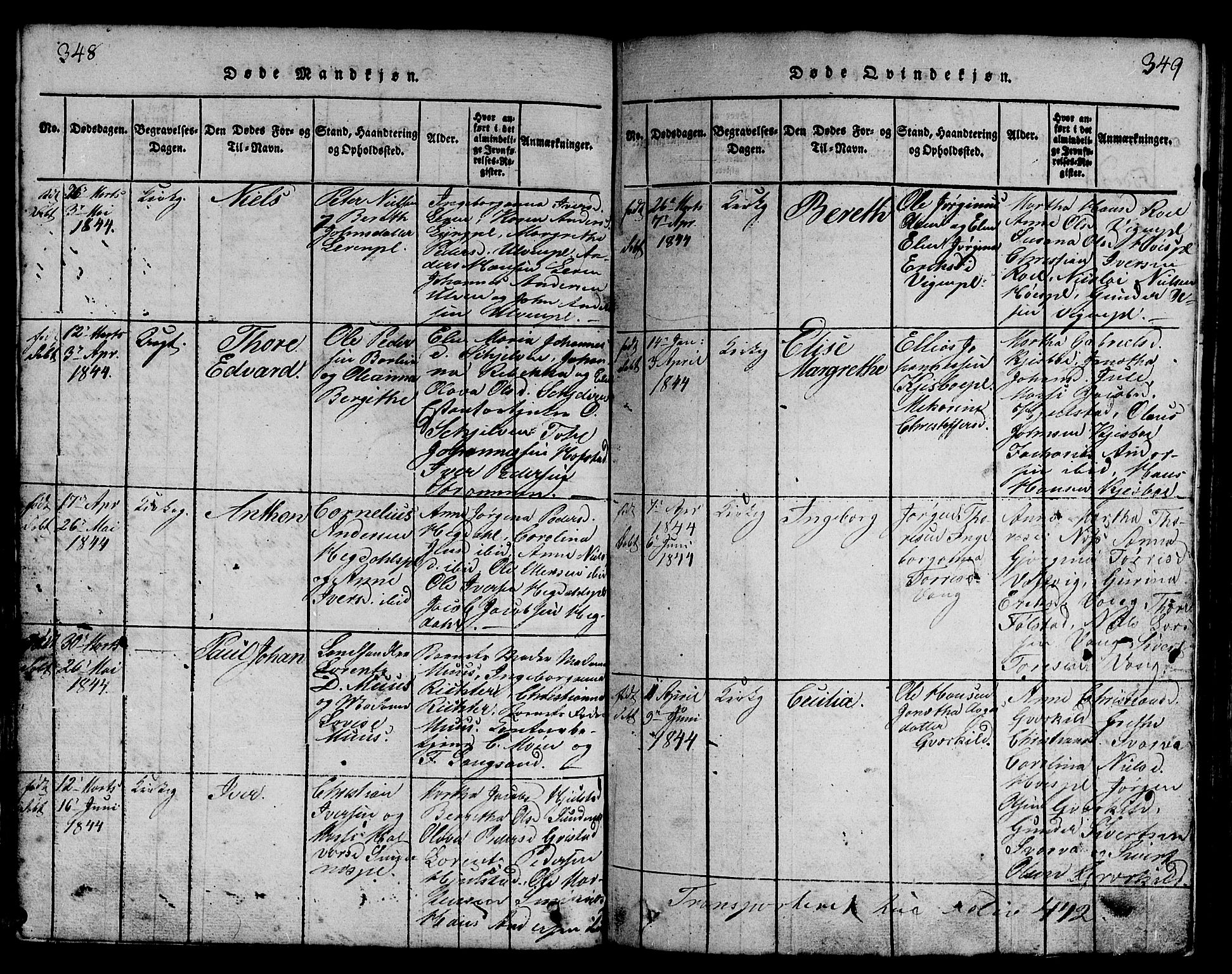 SAT, Ministerialprotokoller, klokkerbøker og fødselsregistre - Nord-Trøndelag, 730/L0298: Klokkerbok nr. 730C01, 1816-1849, s. 348-349
