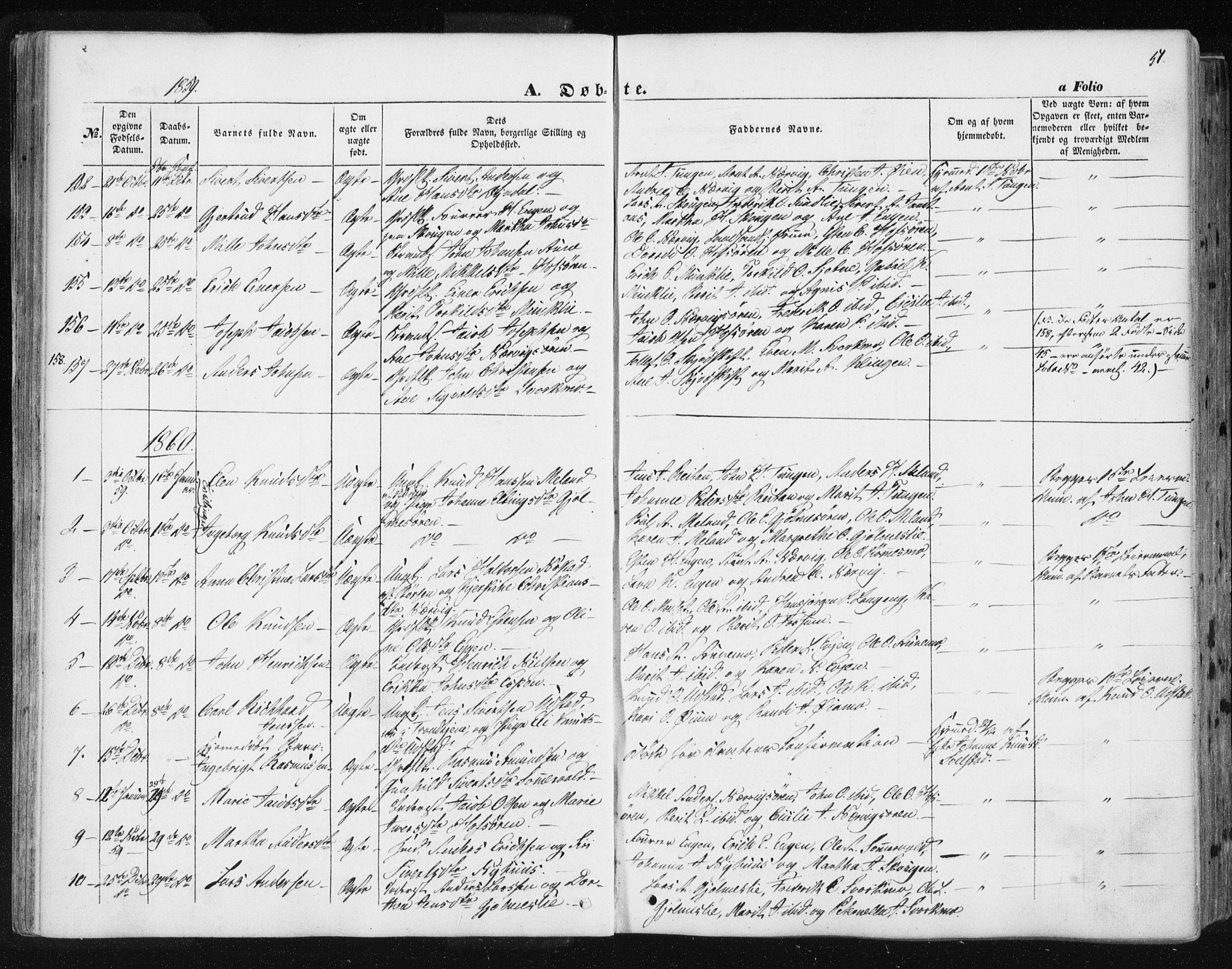 SAT, Ministerialprotokoller, klokkerbøker og fødselsregistre - Sør-Trøndelag, 668/L0806: Ministerialbok nr. 668A06, 1854-1869, s. 51