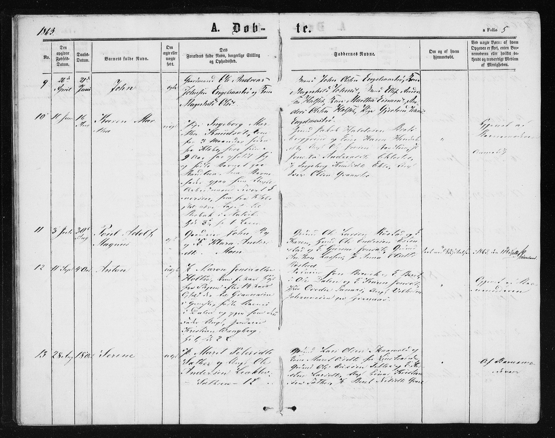 SAT, Ministerialprotokoller, klokkerbøker og fødselsregistre - Sør-Trøndelag, 608/L0333: Ministerialbok nr. 608A02, 1862-1876, s. 5