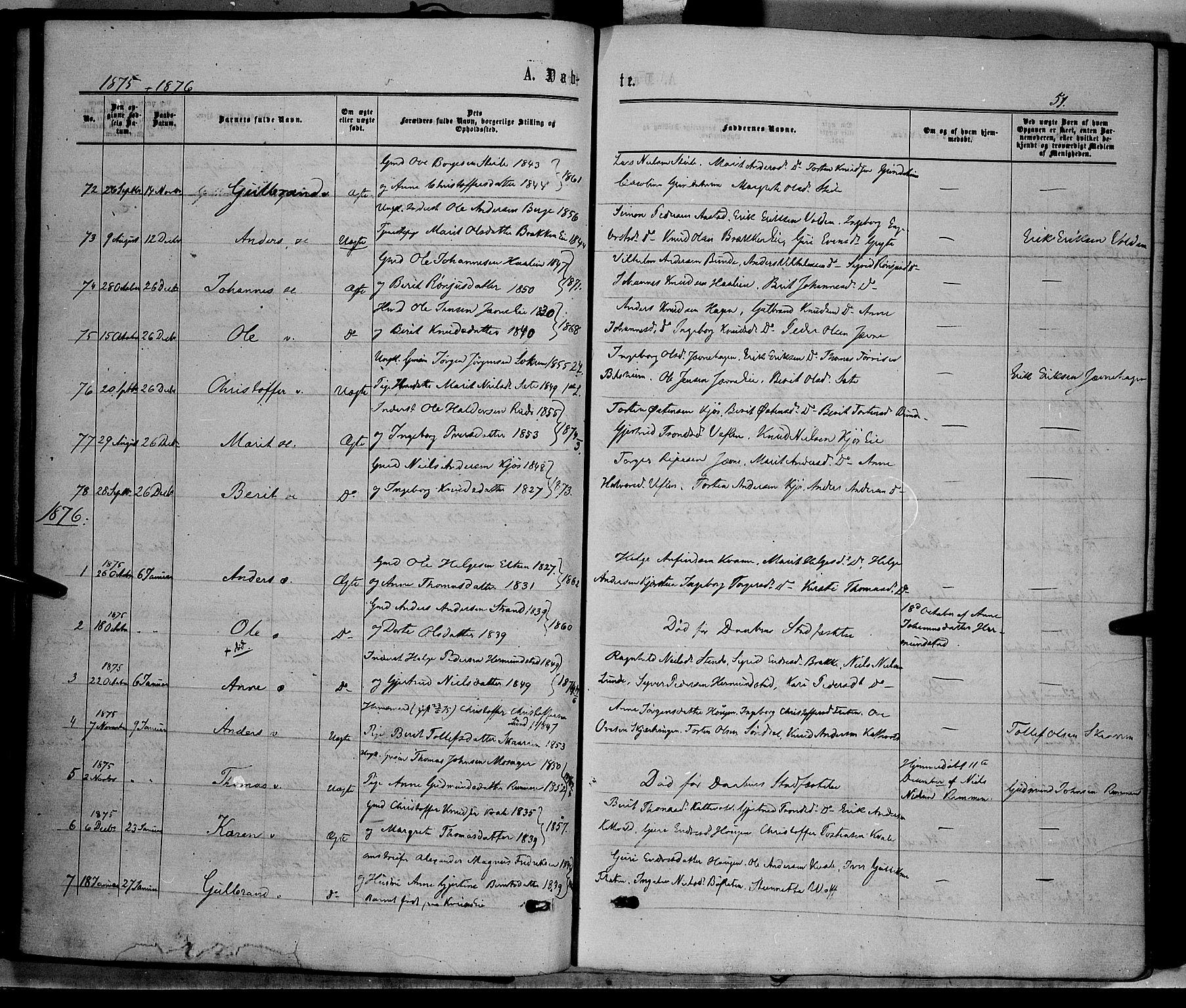 SAH, Vang prestekontor, Valdres, Ministerialbok nr. 7, 1865-1881, s. 51