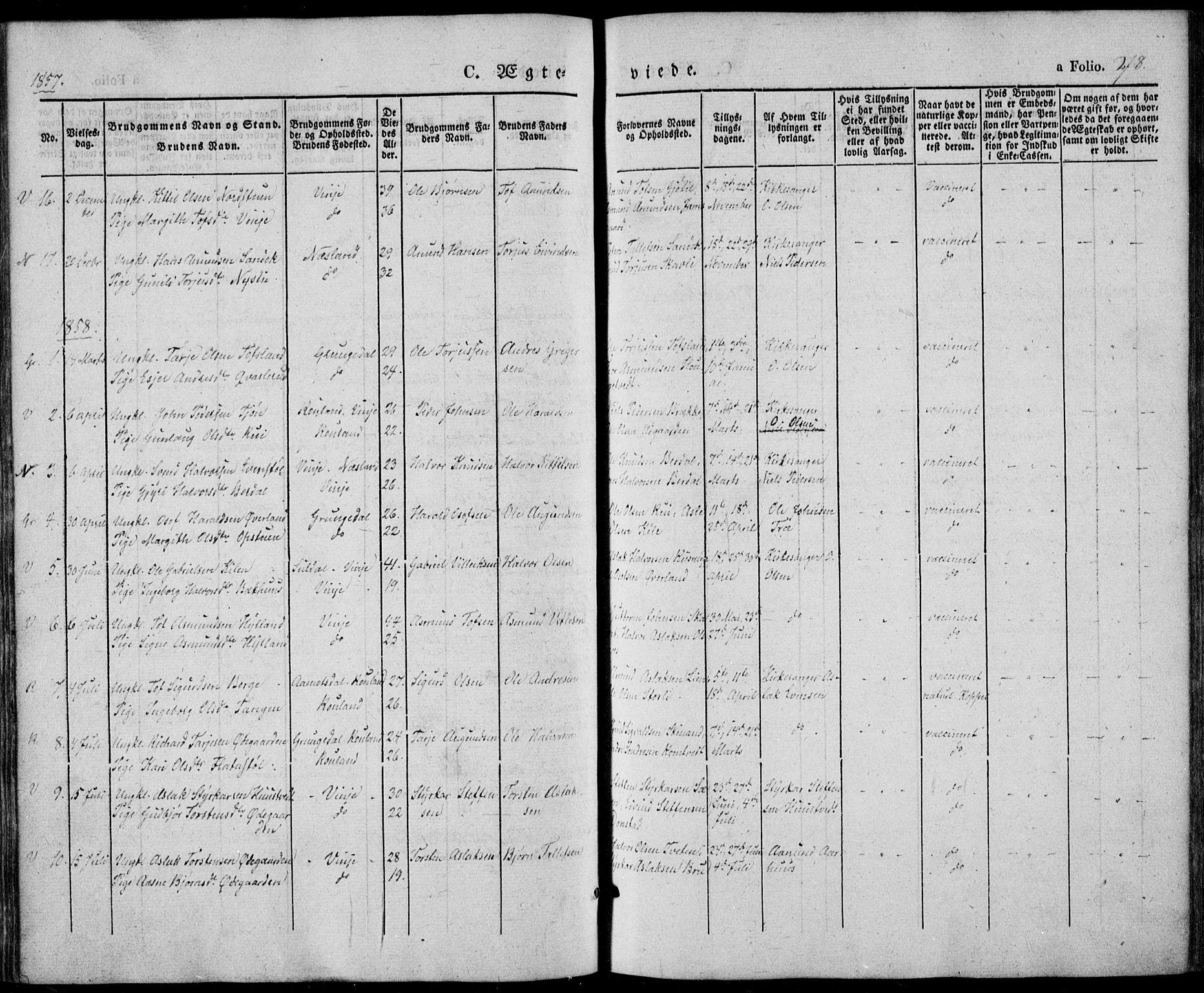 SAKO, Vinje kirkebøker, F/Fa/L0004: Ministerialbok nr. I 4, 1843-1869, s. 278