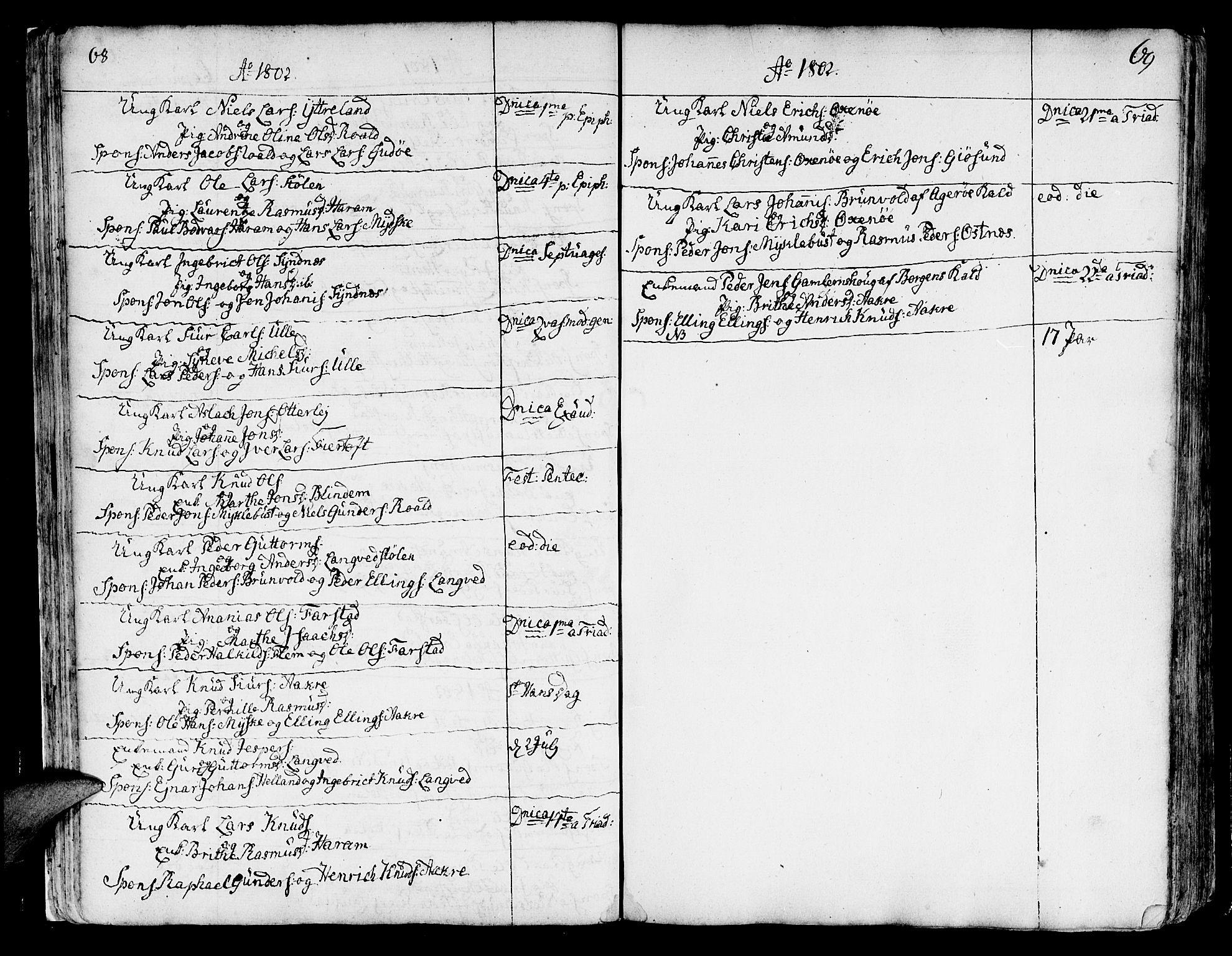 SAT, Ministerialprotokoller, klokkerbøker og fødselsregistre - Møre og Romsdal, 536/L0493: Ministerialbok nr. 536A02, 1739-1802, s. 68-69