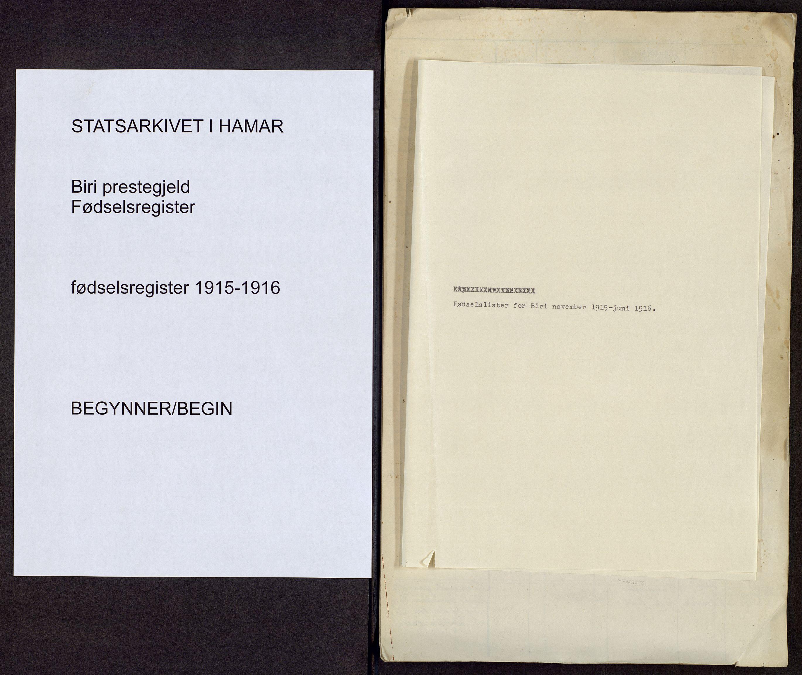 SAH, Biri prestekontor, Fødselsregister nr. -, 1915-1916