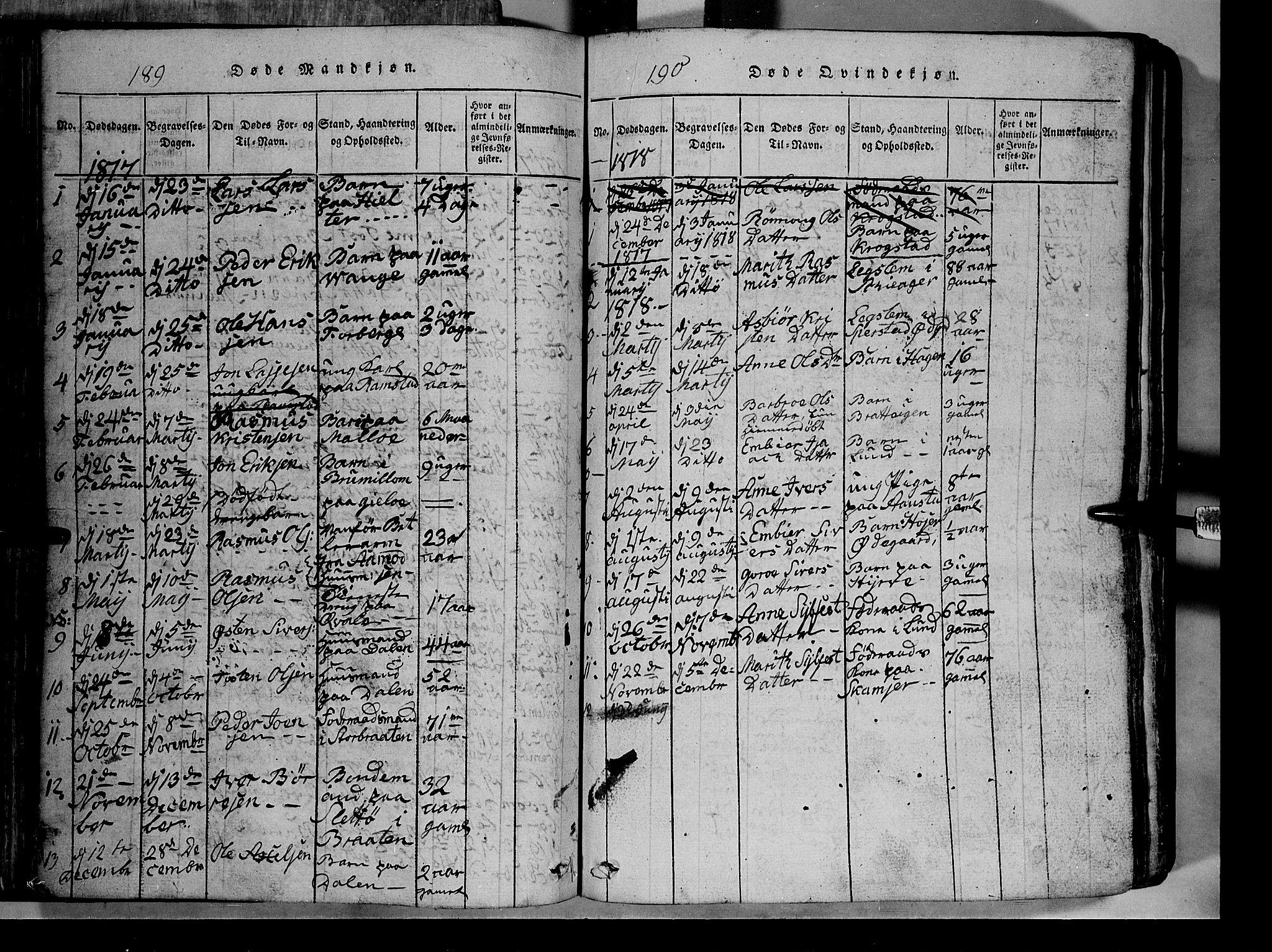 SAH, Lom prestekontor, L/L0003: Klokkerbok nr. 3, 1815-1844, s. 189-190